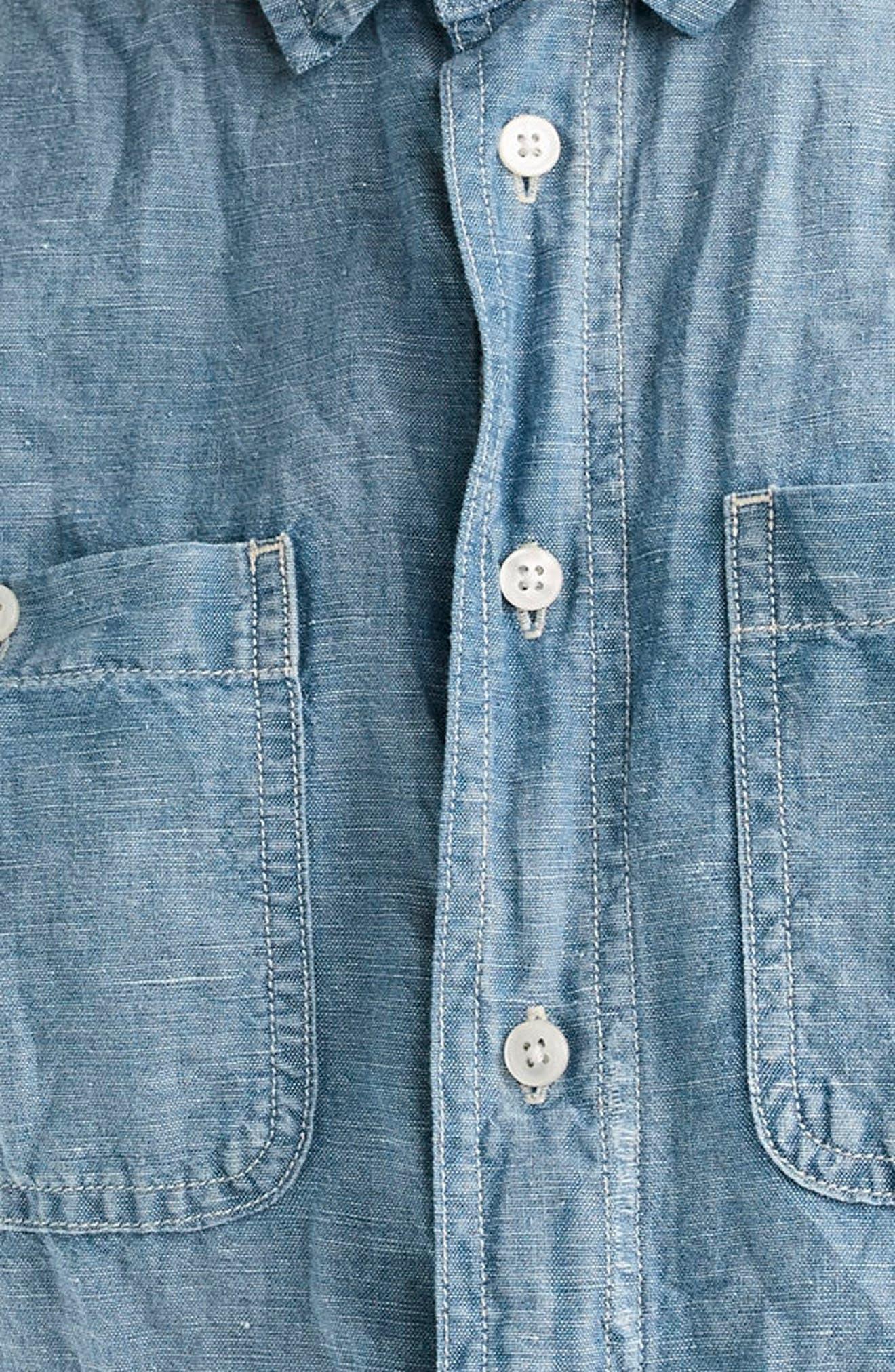 Chambray Tunic Shirt,                             Alternate thumbnail 3, color,                             409