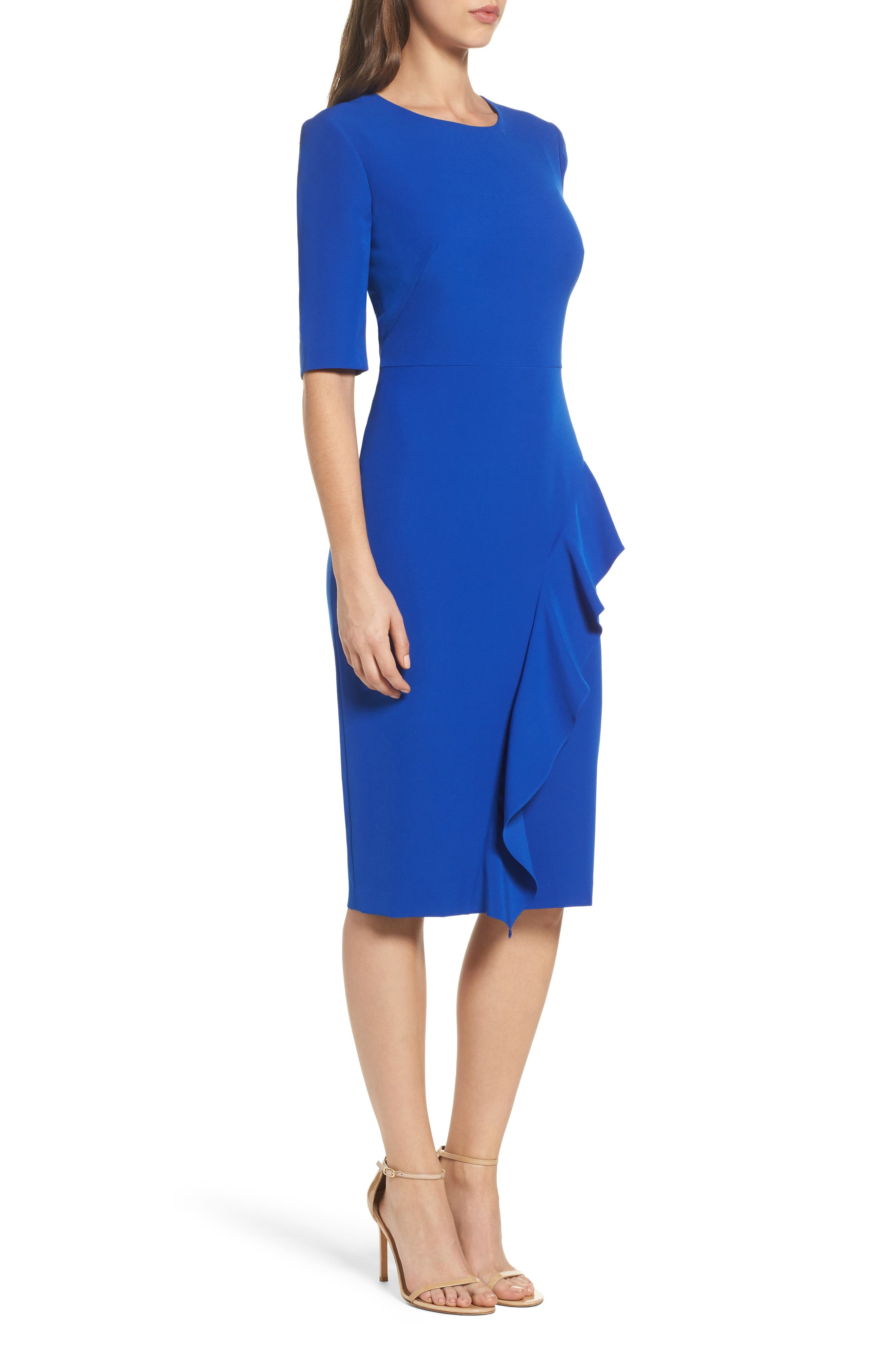 Ruffle Crepe Sheath Dress,                             Alternate thumbnail 3, color,                             401