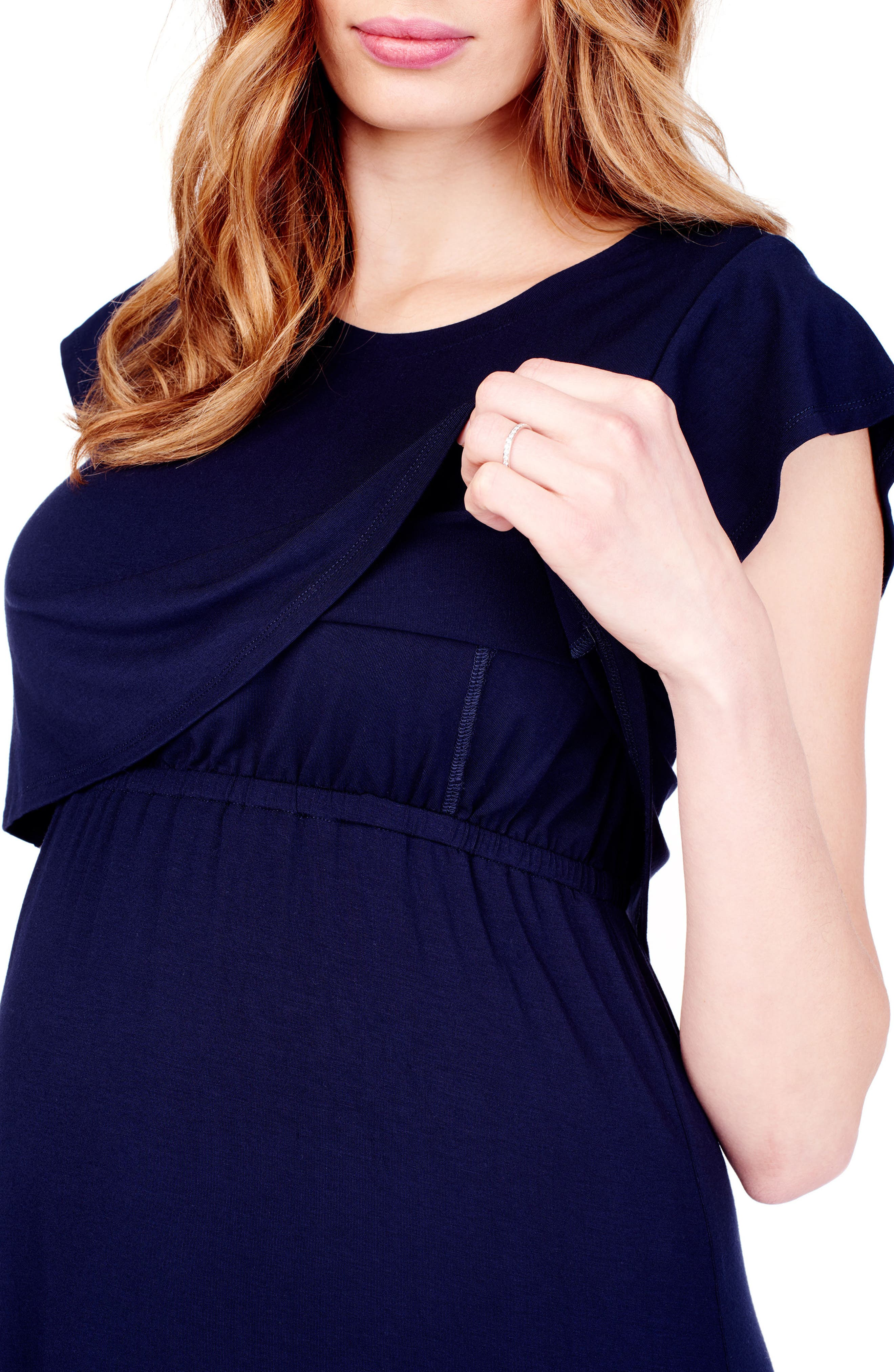 Maternity/Nursing Midi Dress,                             Alternate thumbnail 4, color,                             CHARCOAL HEATHER