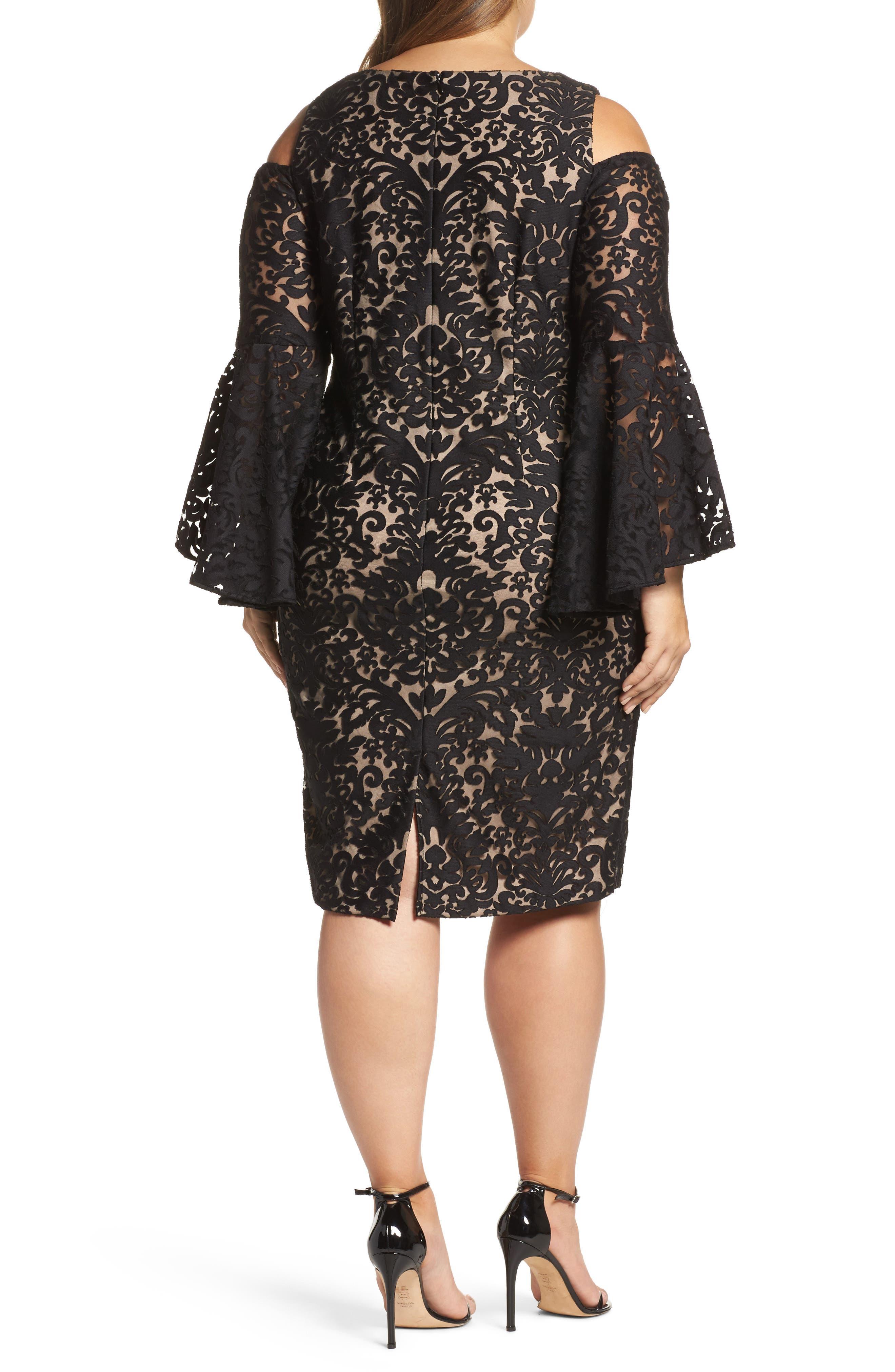 Lace Bell Sleeve Sheath Dress,                             Alternate thumbnail 2, color,                             012