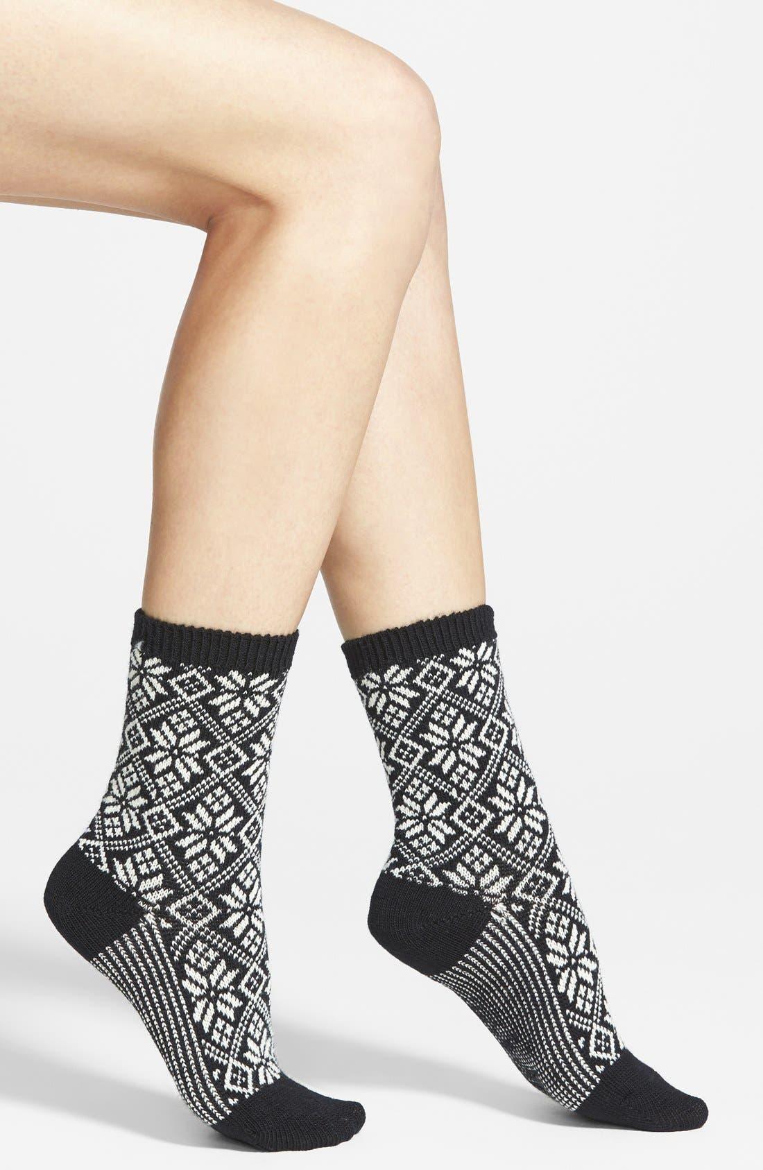 SMARTWOOL,                             Snowflake Pattern Crew Socks,                             Main thumbnail 1, color,                             001
