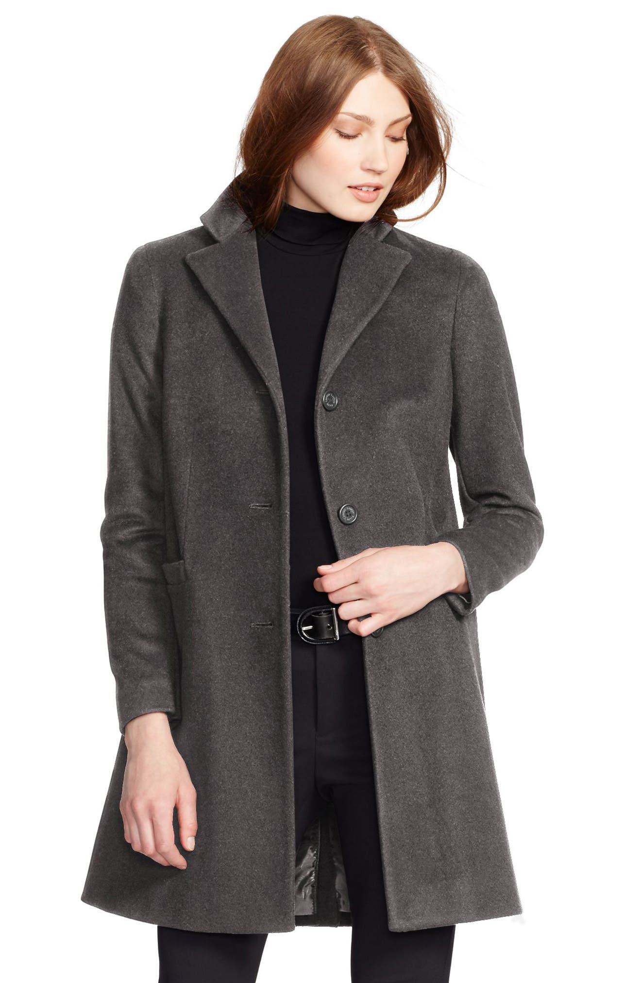 Wool Blend Reefer Coat,                             Main thumbnail 2, color,