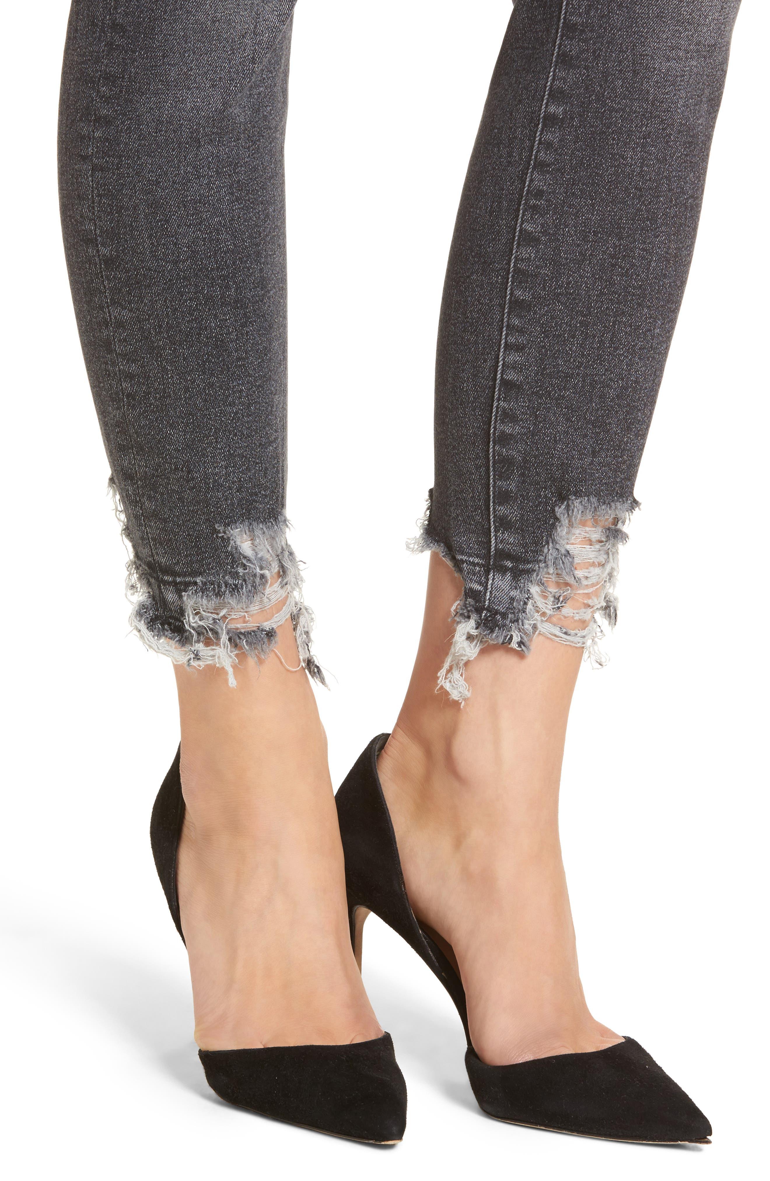Farrow Ripped Ankle Jeans,                             Alternate thumbnail 4, color,                             LIGHT SMOKE