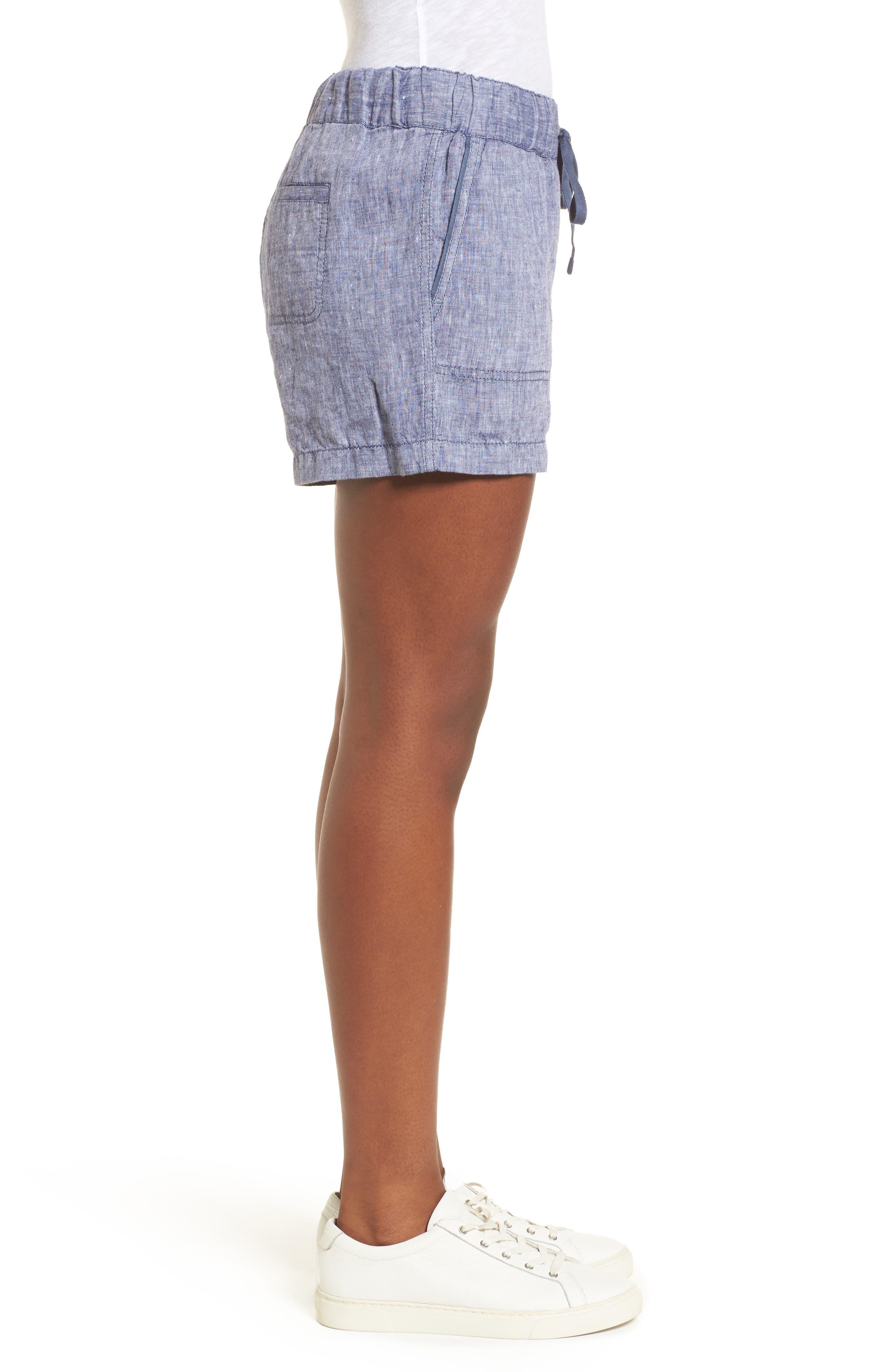 Linen Shorts,                             Alternate thumbnail 3, color,                             NAVY CROSSDYE