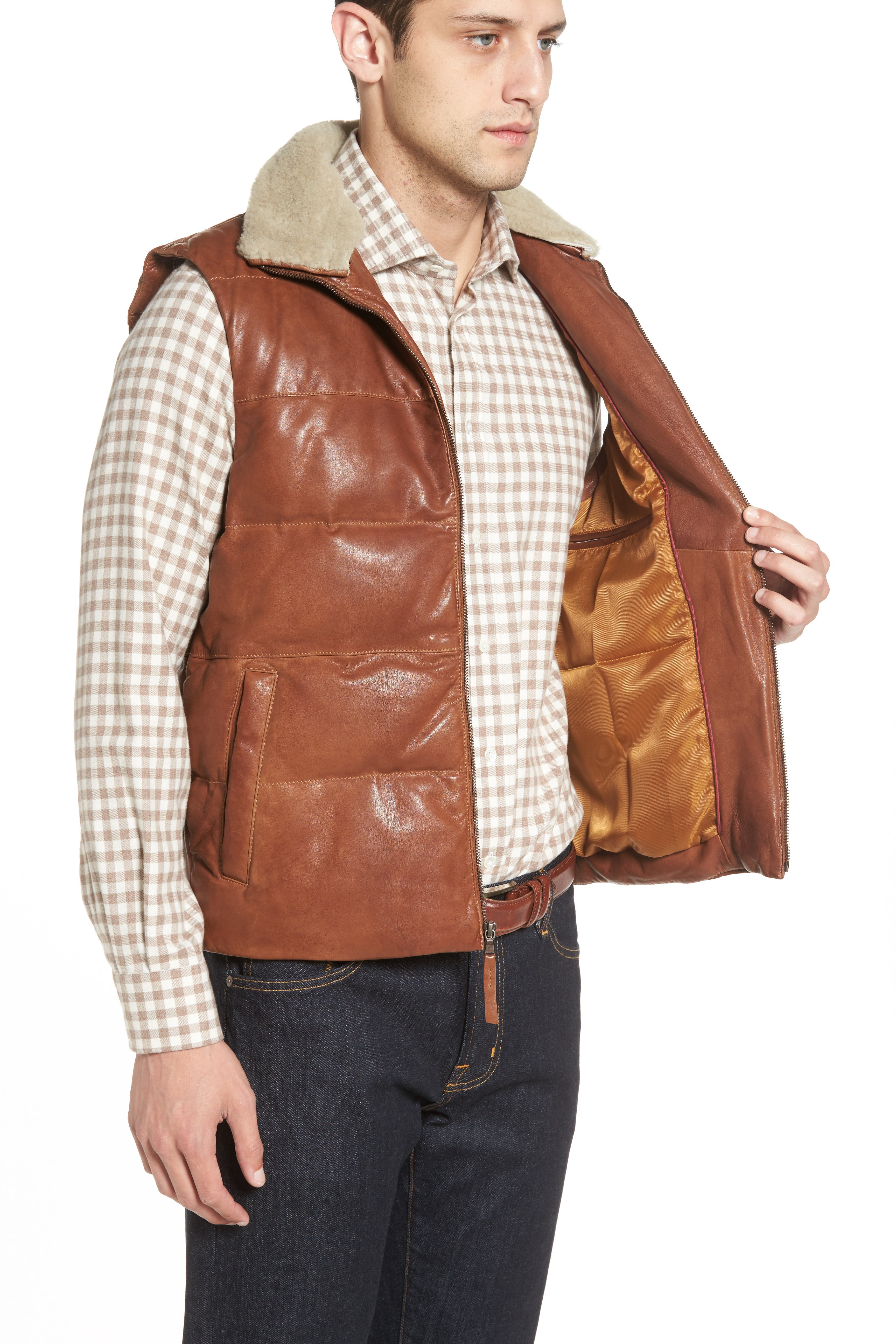 Quilted Leather Vest with Removable Genuine Shearling Collar,                             Alternate thumbnail 6, color,                             210