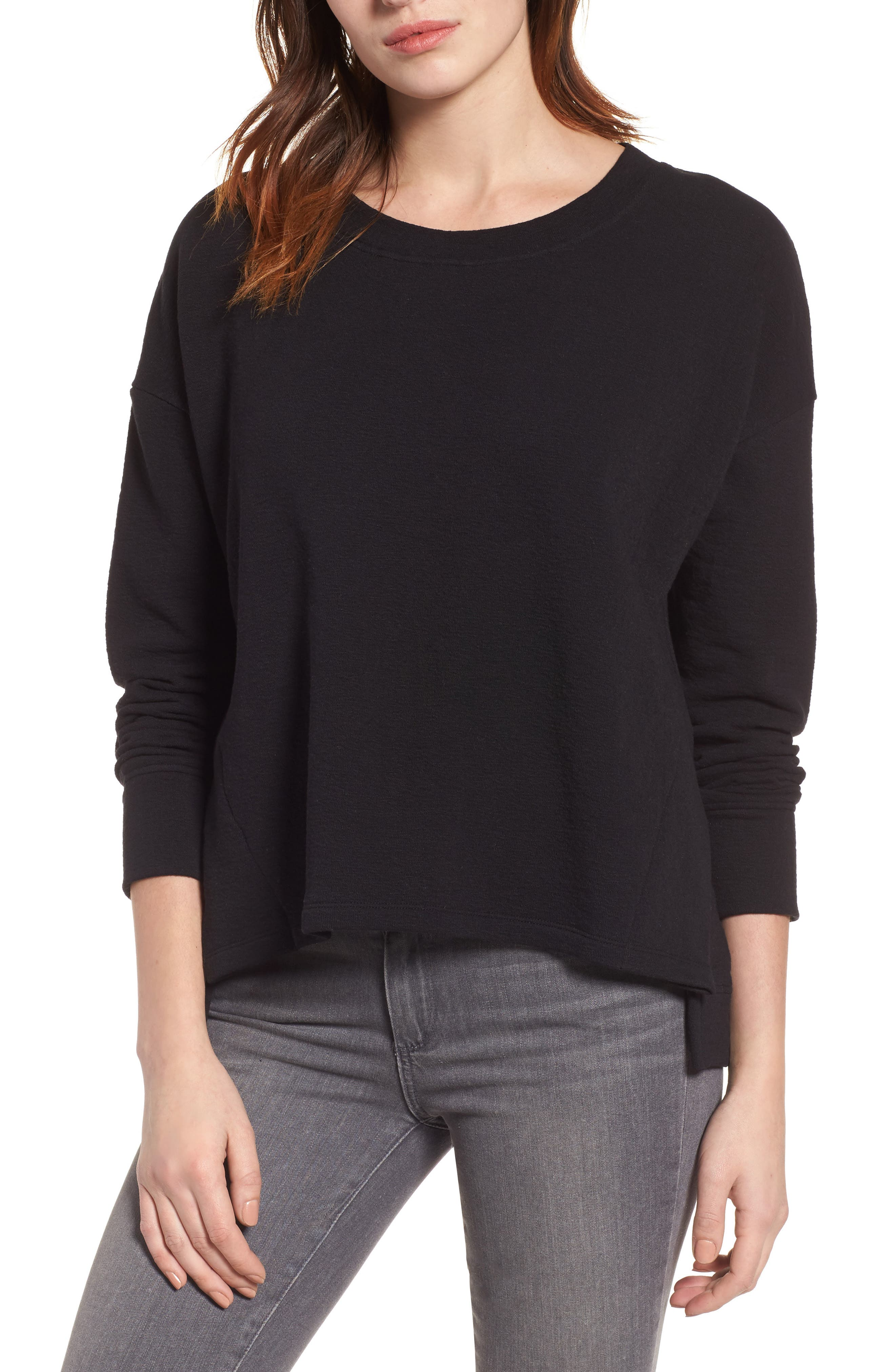 CASLON<SUP>®</SUP> Side Slit Relaxed Sweatshirt, Main, color, BLACK