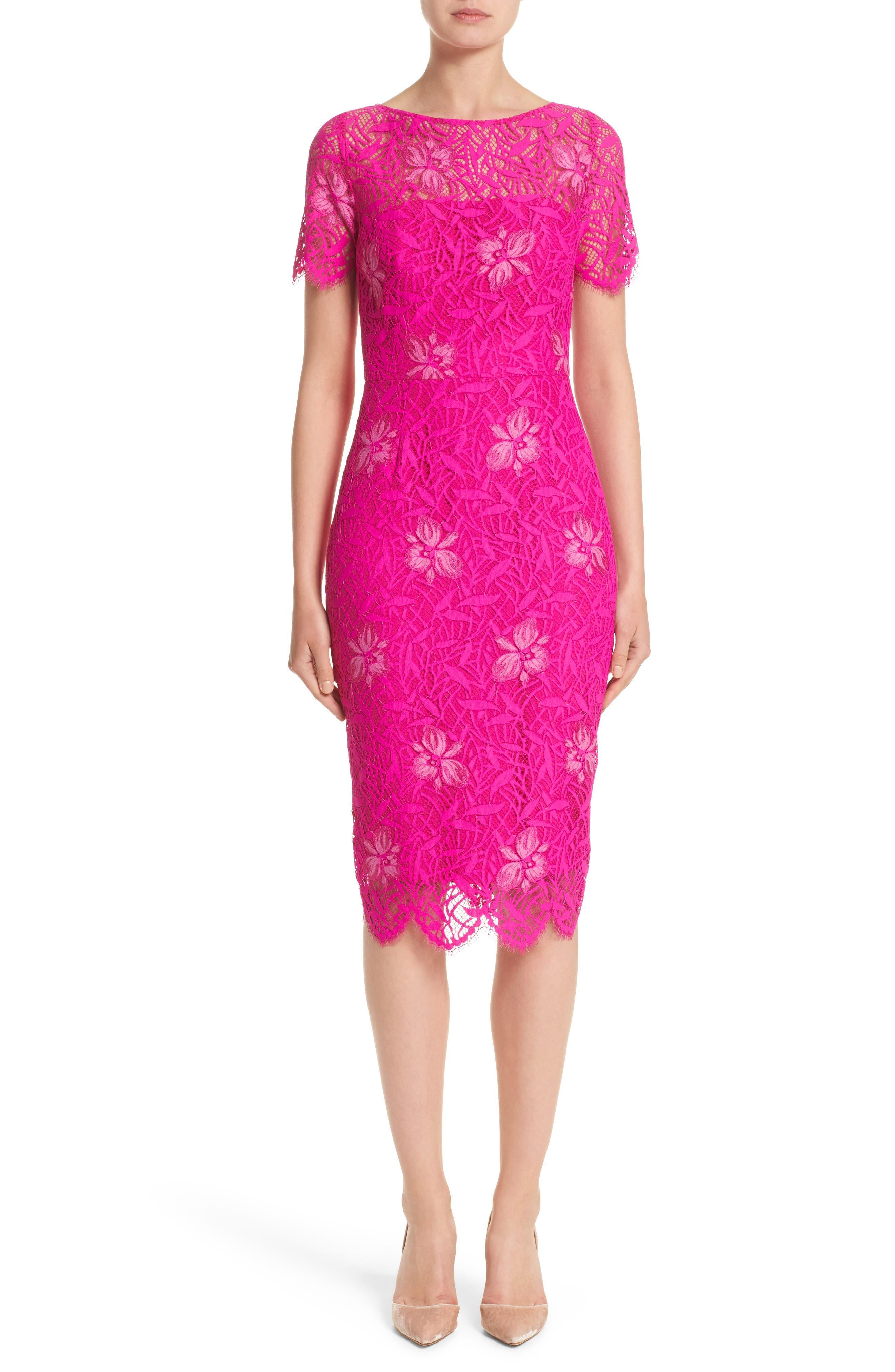 Floral Lace Sheath Dress,                             Alternate thumbnail 6, color,                             659