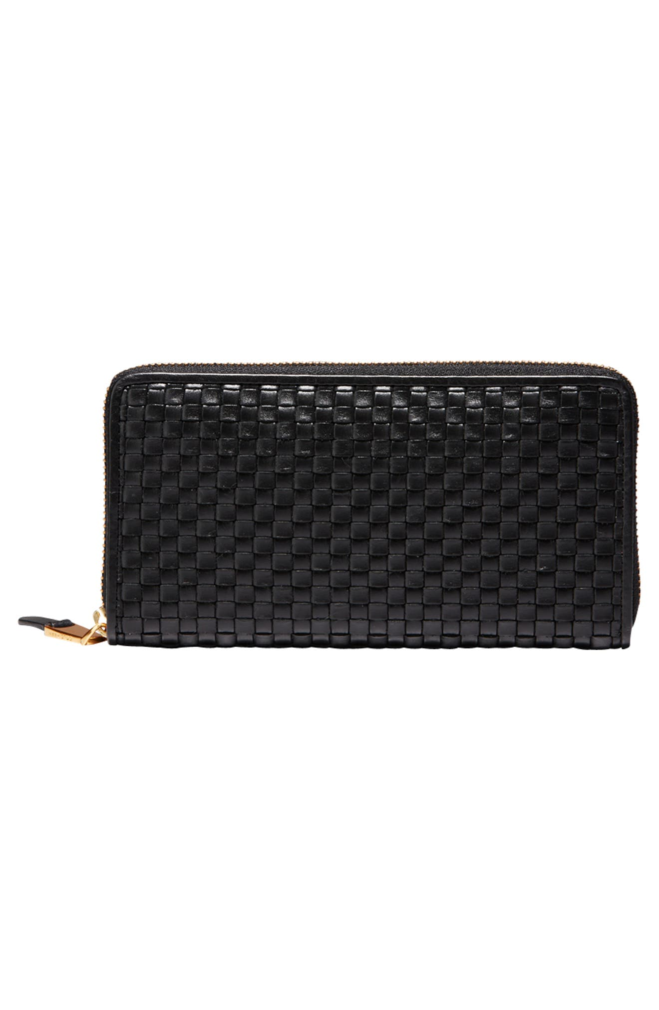 Zoe Woven RFID Leather Continental Zip Wallet,                             Alternate thumbnail 9, color,
