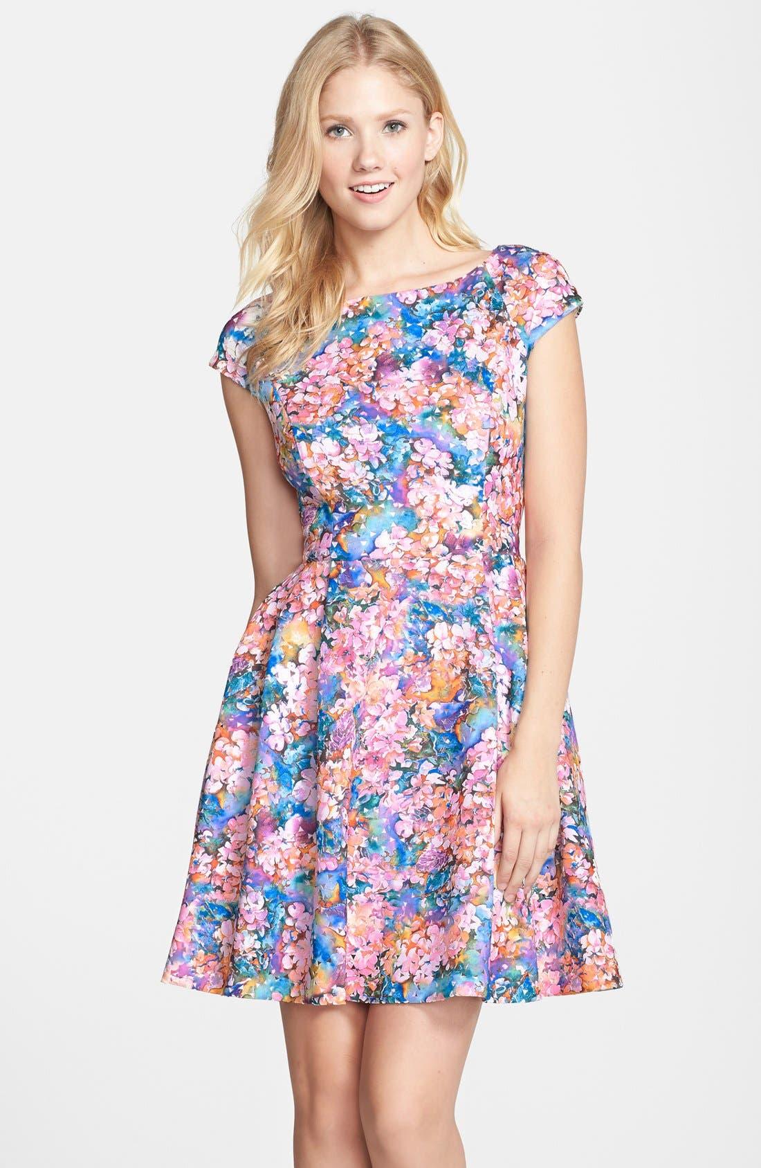 BETSEY JOHNSON,                             Laser Cut Floral Print Scuba Fit & Flare Dress,                             Main thumbnail 1, color,                             650