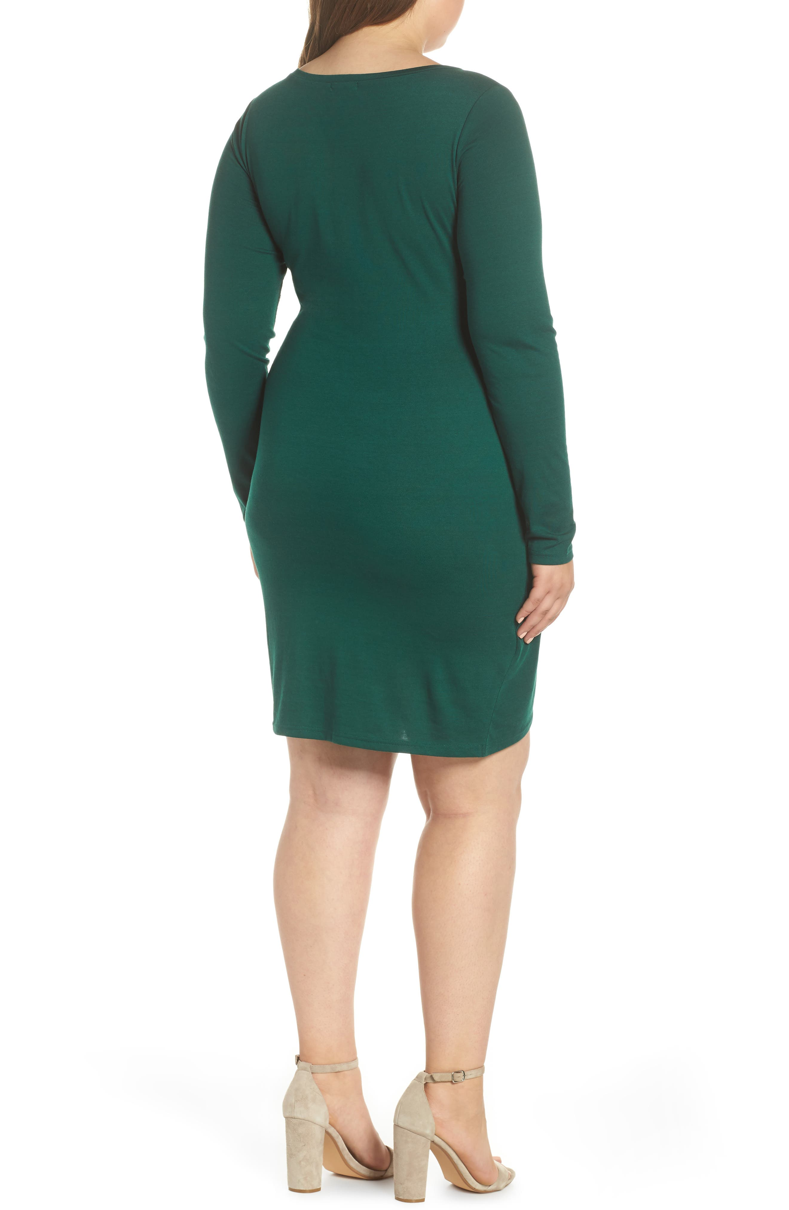 Ruched Body-Con Dress,                             Alternate thumbnail 2, color,                             GREEN BOTANICAL