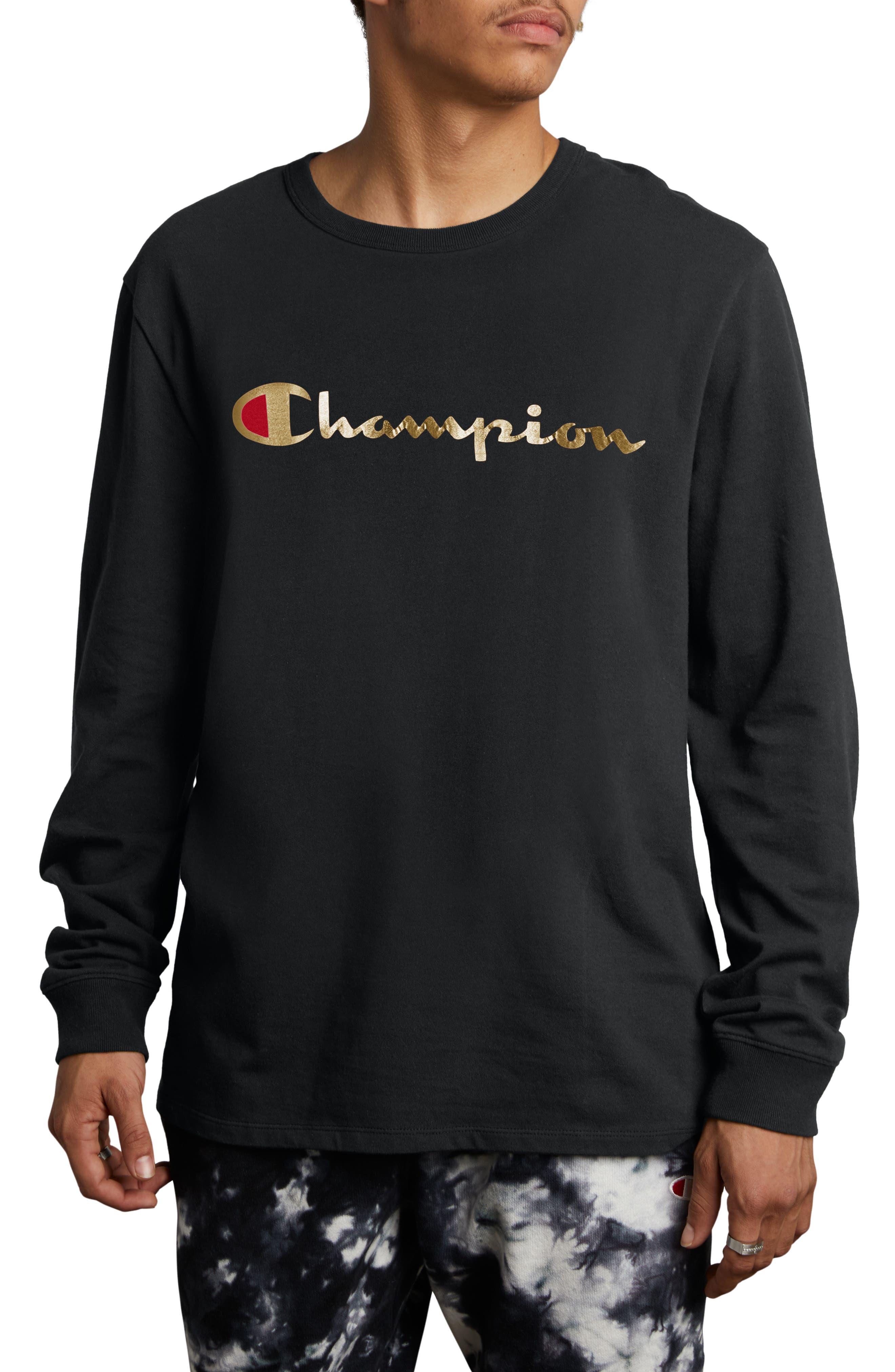 Gold Script Logo Long Sleeve T-Shirt,                         Main,                         color, BLACK