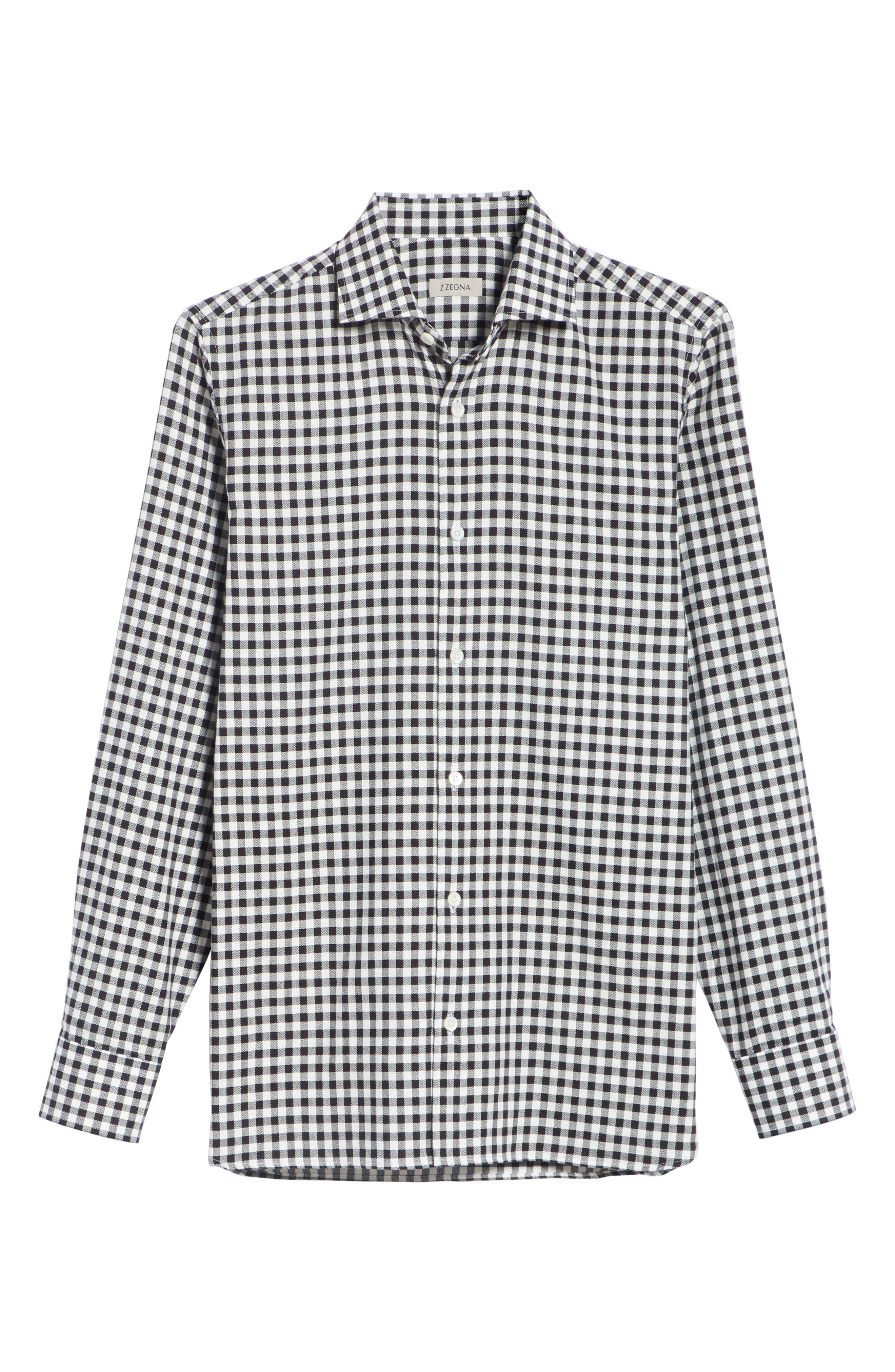 Trim Fit Check Dress Shirt,                             Alternate thumbnail 6, color,                             BLACK