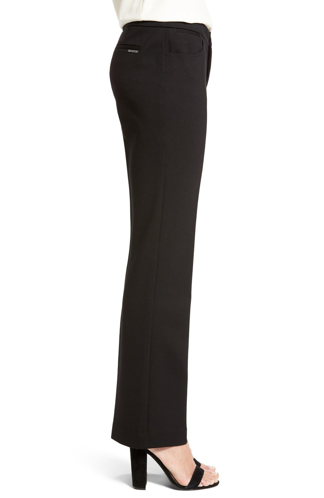 Compression Flare Leg Ponte Pants,                             Alternate thumbnail 3, color,                             BLACK