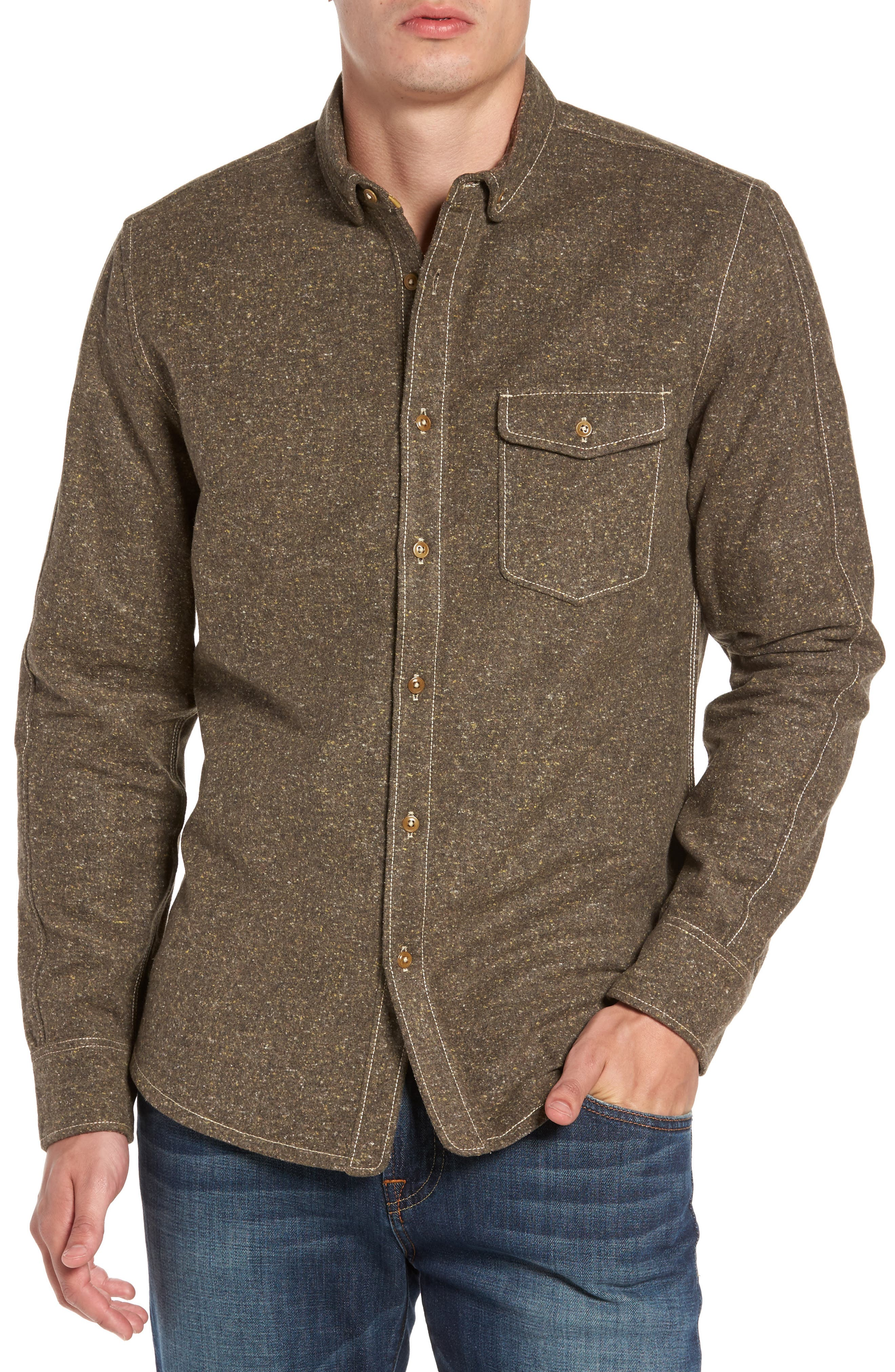Jeremiah Utah Nep Heather Flannel Shirt, Brown