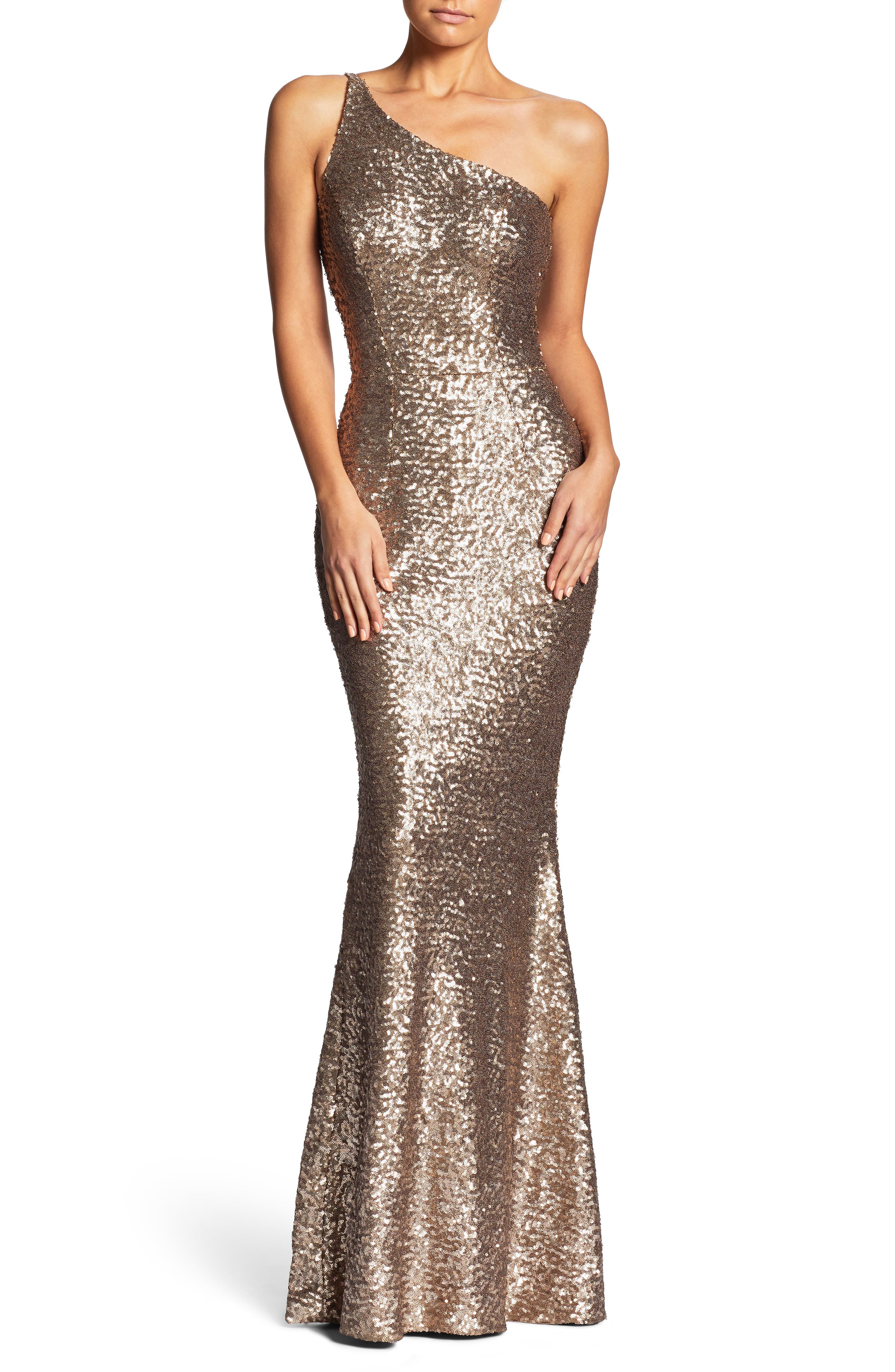 Dress The Population Bella One-Shoulder Mermaid Gown, Metallic