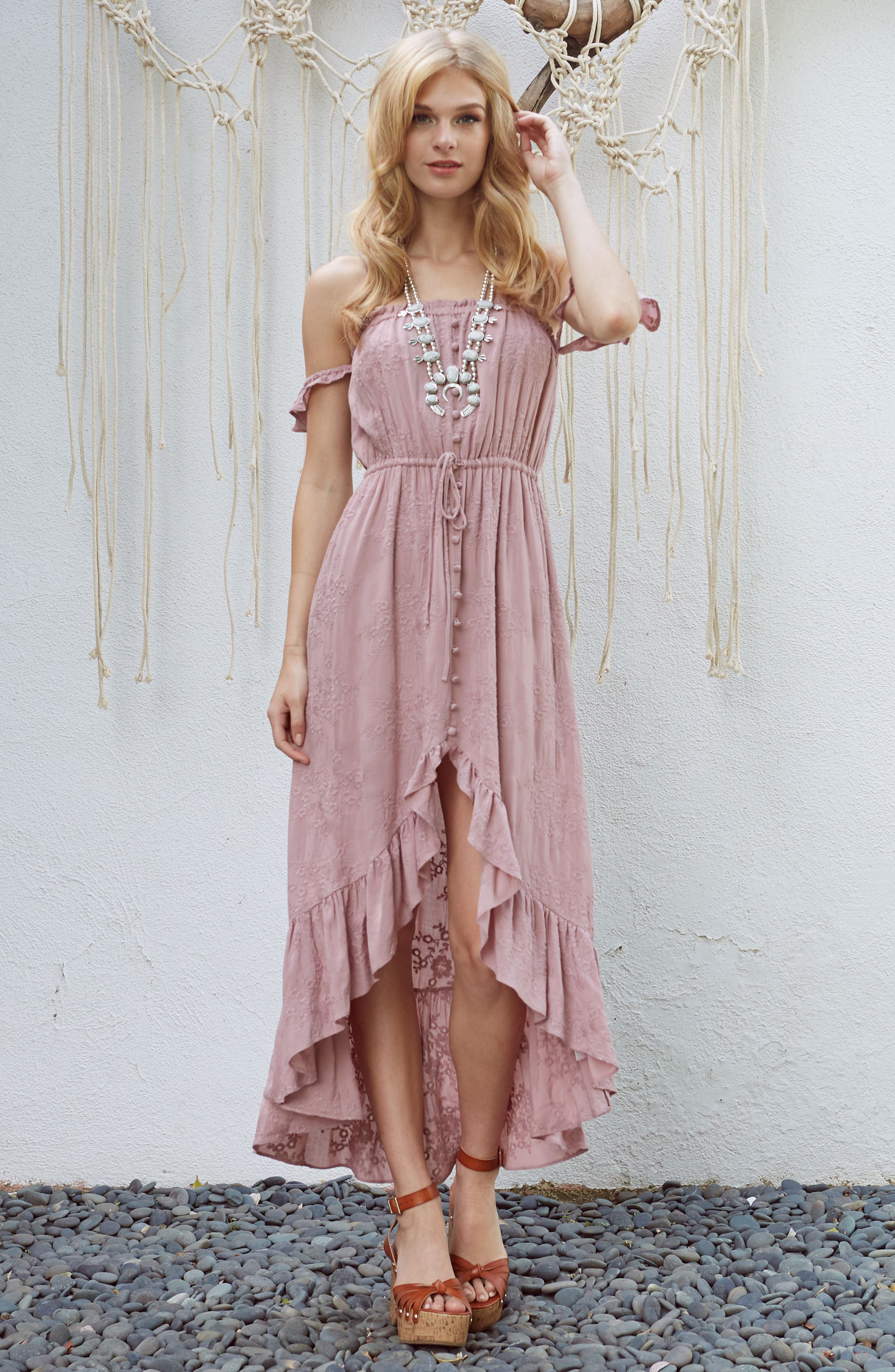 Rose Cold Shoulder High/Low Dress,                             Alternate thumbnail 7, color,                             651