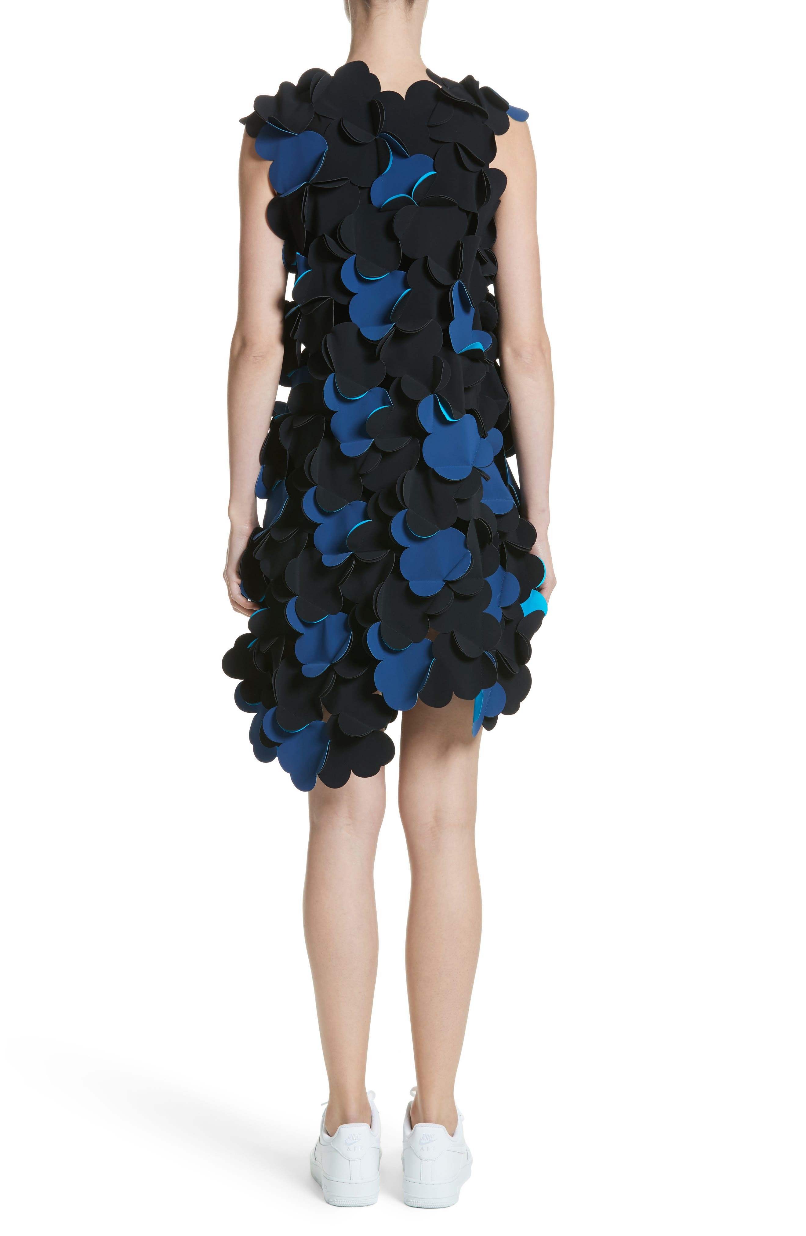 Laser Cut Appliqué Asymmetrical Dress,                             Alternate thumbnail 2, color,                             001