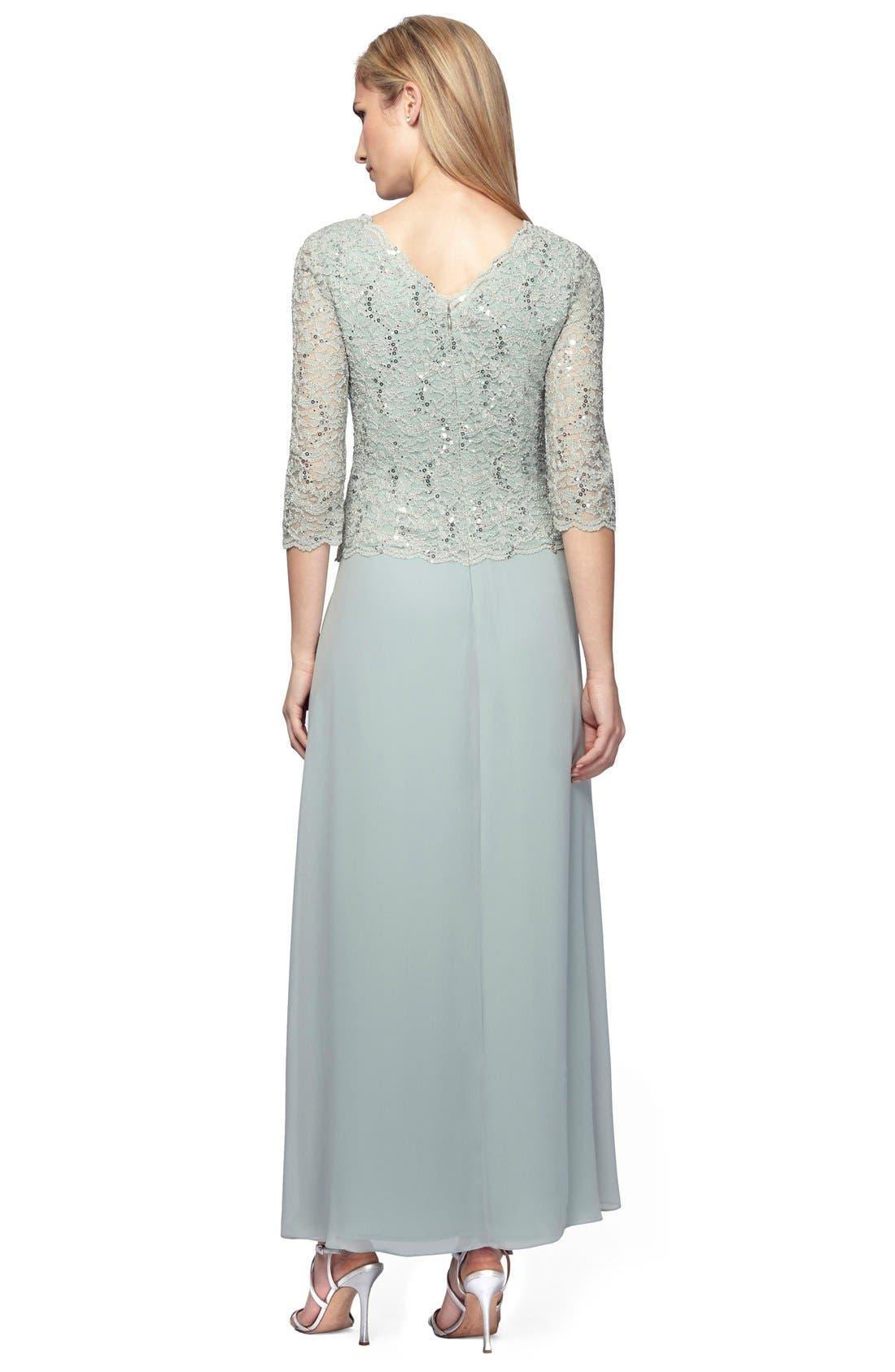 Sequin Lace & Chiffon Gown,                         Main,                         color,