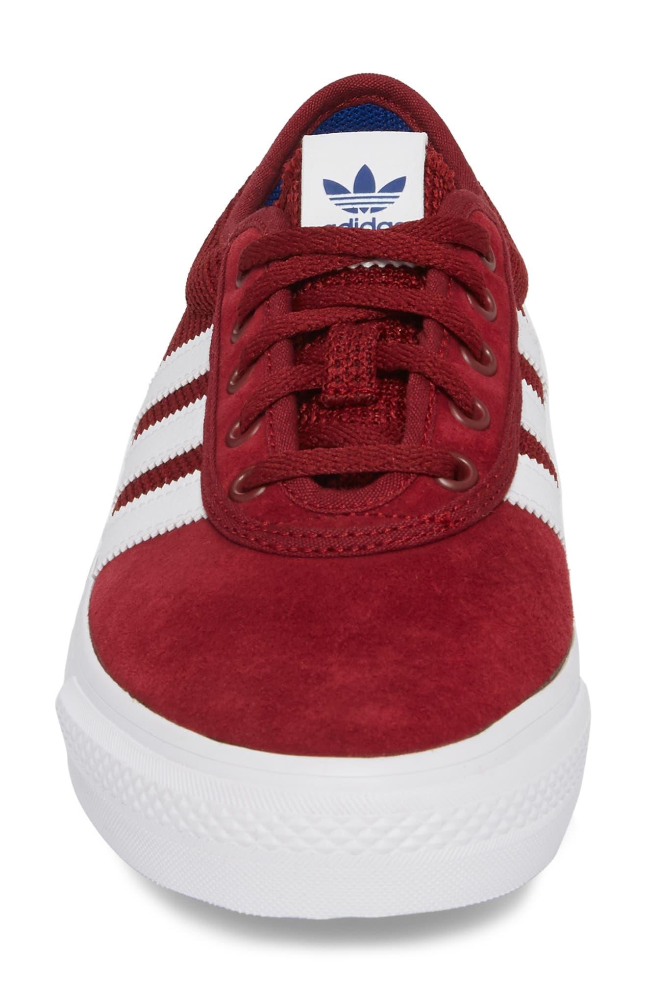 adi-Ease Sneaker,                             Alternate thumbnail 4, color,                             BURGUNDY/ WHITE / ROYAL