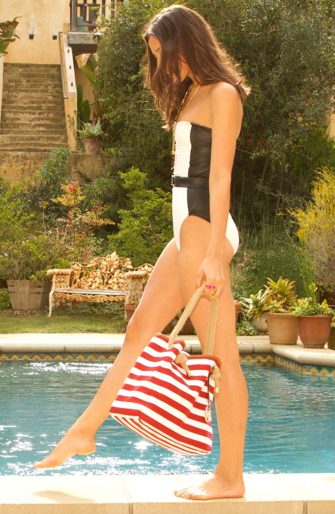 MICHAEL MICHAEL KORS,                             Belted Strapless Swimsuit,                             Alternate thumbnail 3, color,                             100