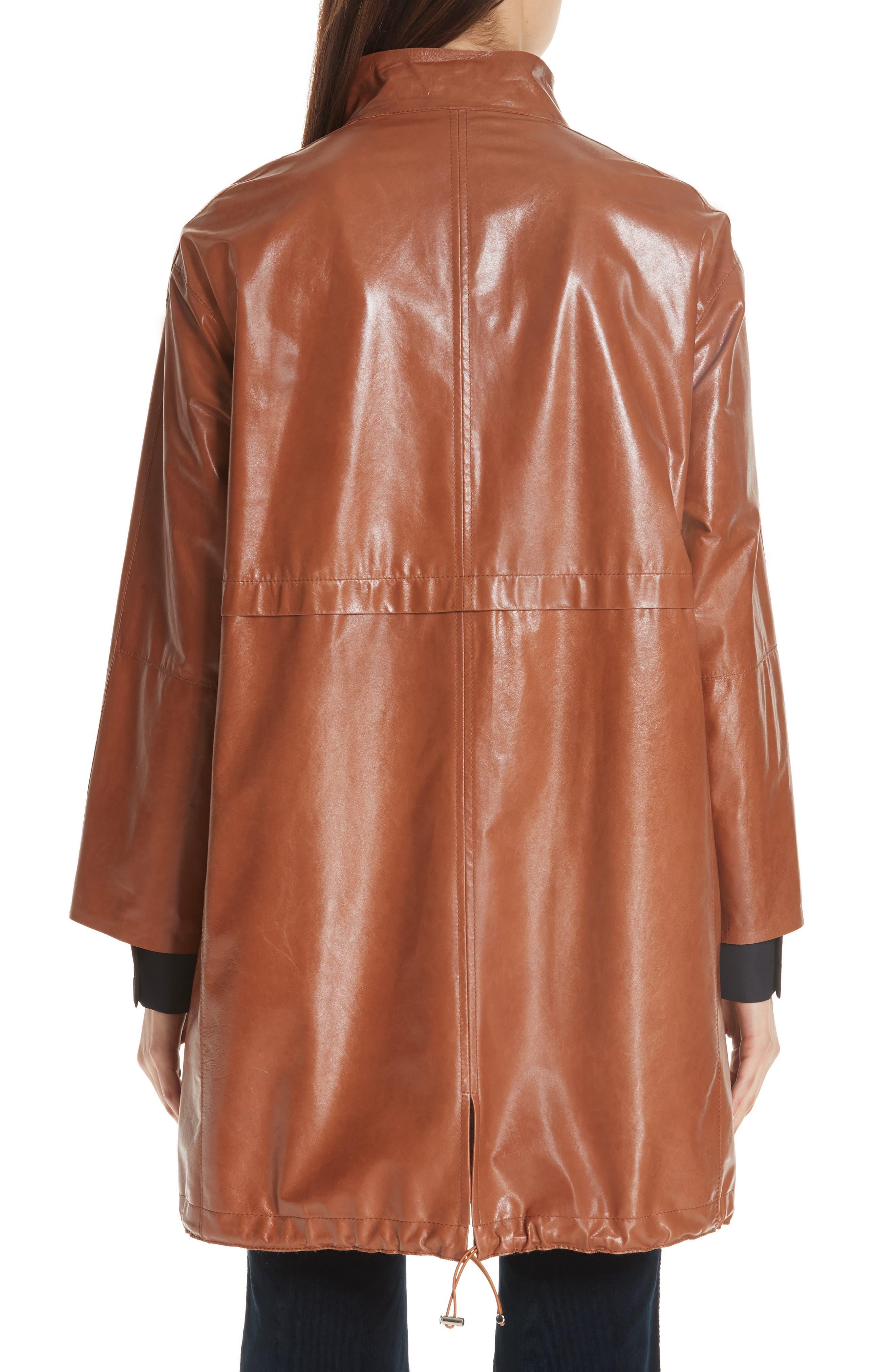 Minerva Leather Jacket,                             Alternate thumbnail 2, color,                             OCHRE