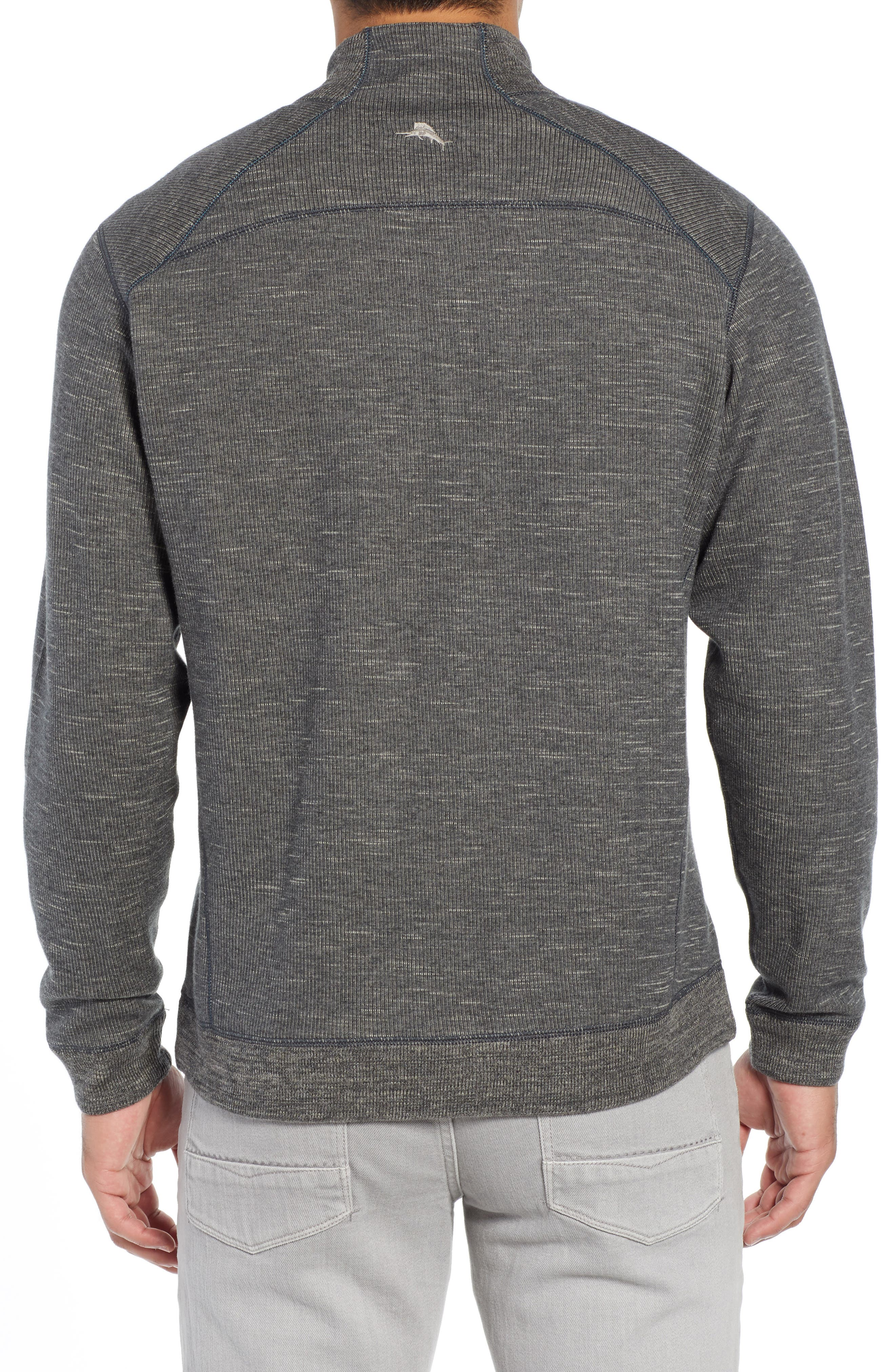 Flipsider Reversible Quarter-Zip Pullover,                             Alternate thumbnail 3, color,                             ONYX HEATHER