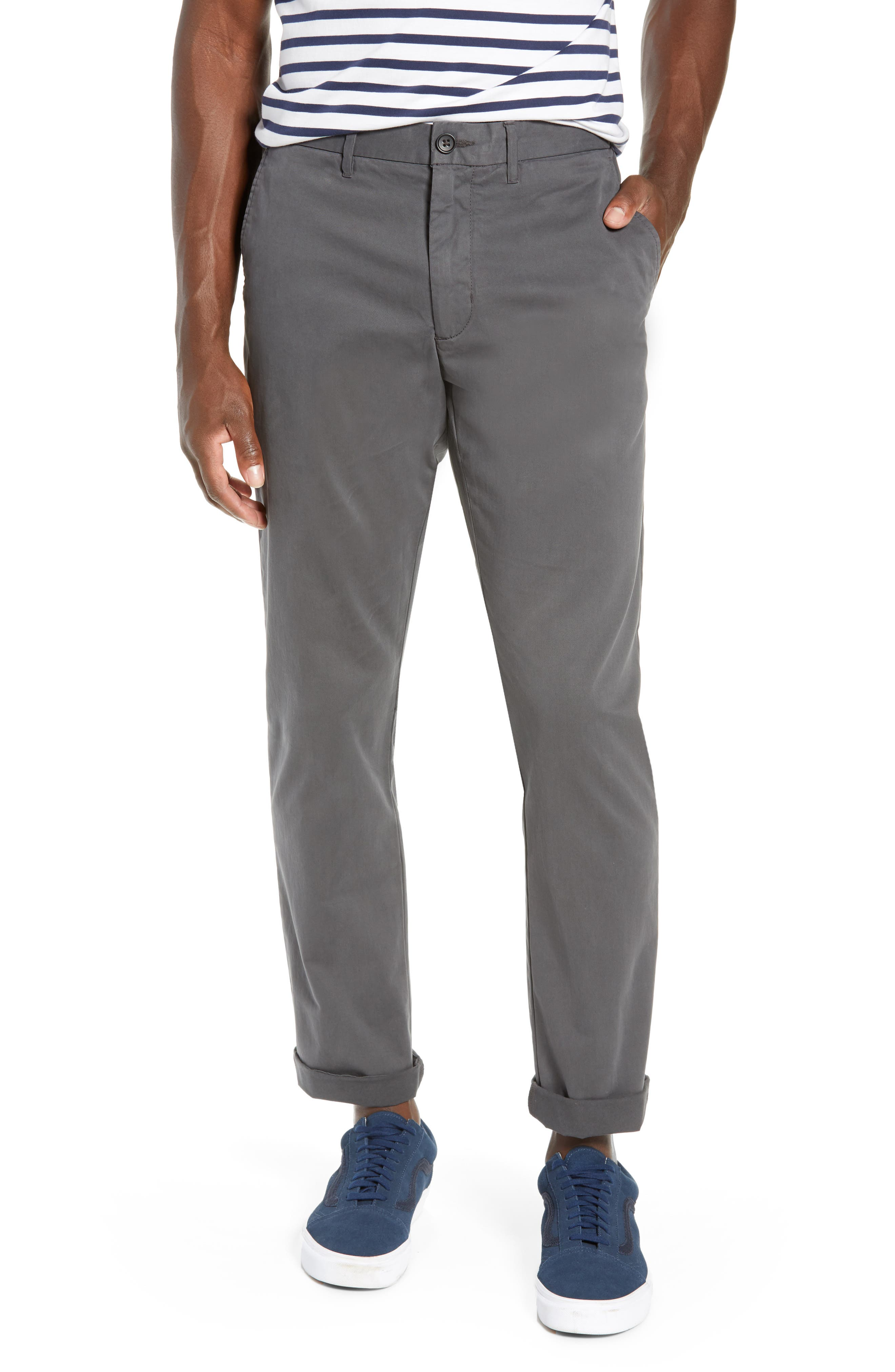 Fremont Flat Front Slim Fit Stretch Chino Pants,                             Main thumbnail 1, color,                             GREY ONYX