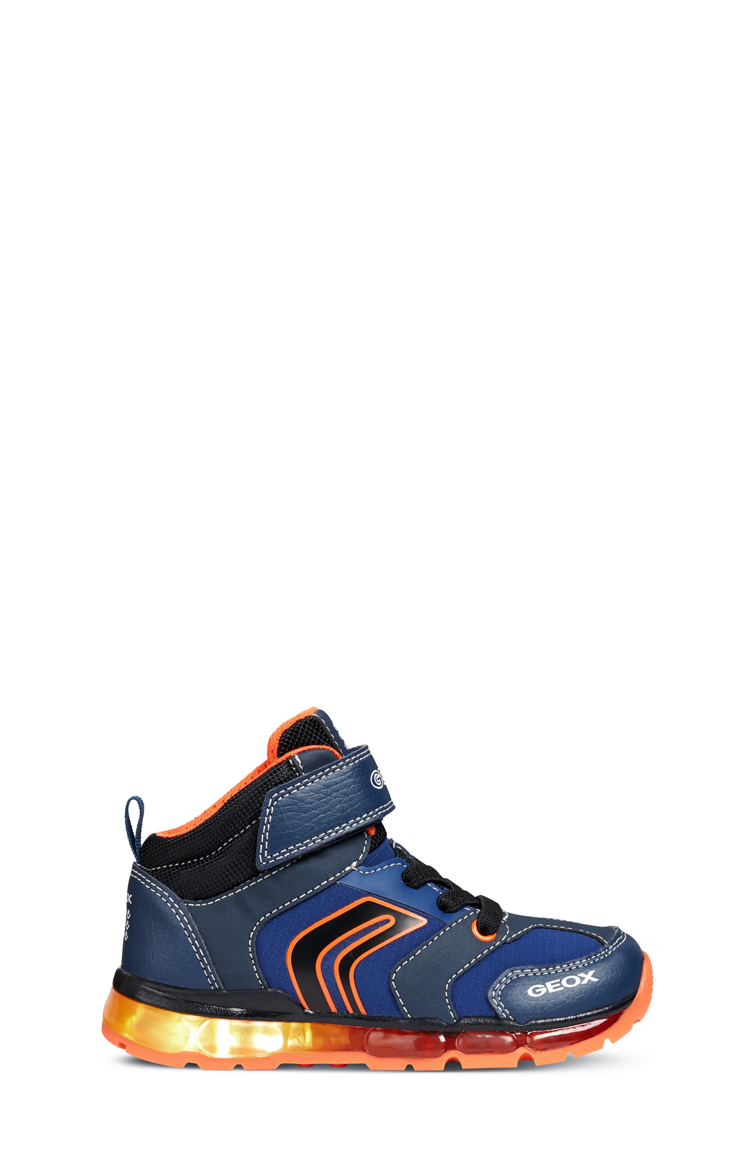 Android Light-Up Sneaker,                             Alternate thumbnail 3, color,                             NAVY/ORANGE