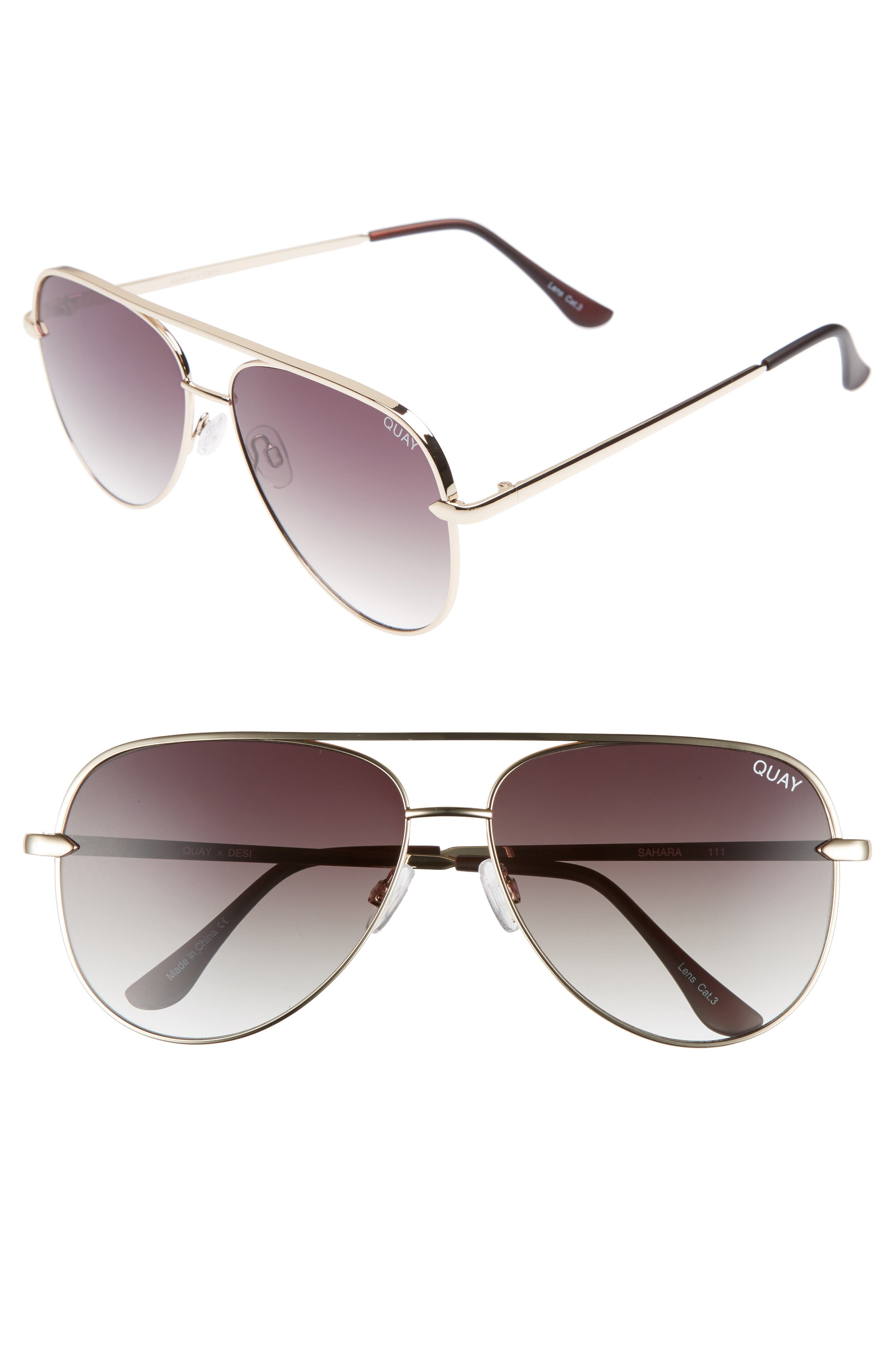 QUAY AUSTRALIA x Desi Perkins Sahara 60mm Aviator Sunglasses, Main, color, GOLD/ SMOKE