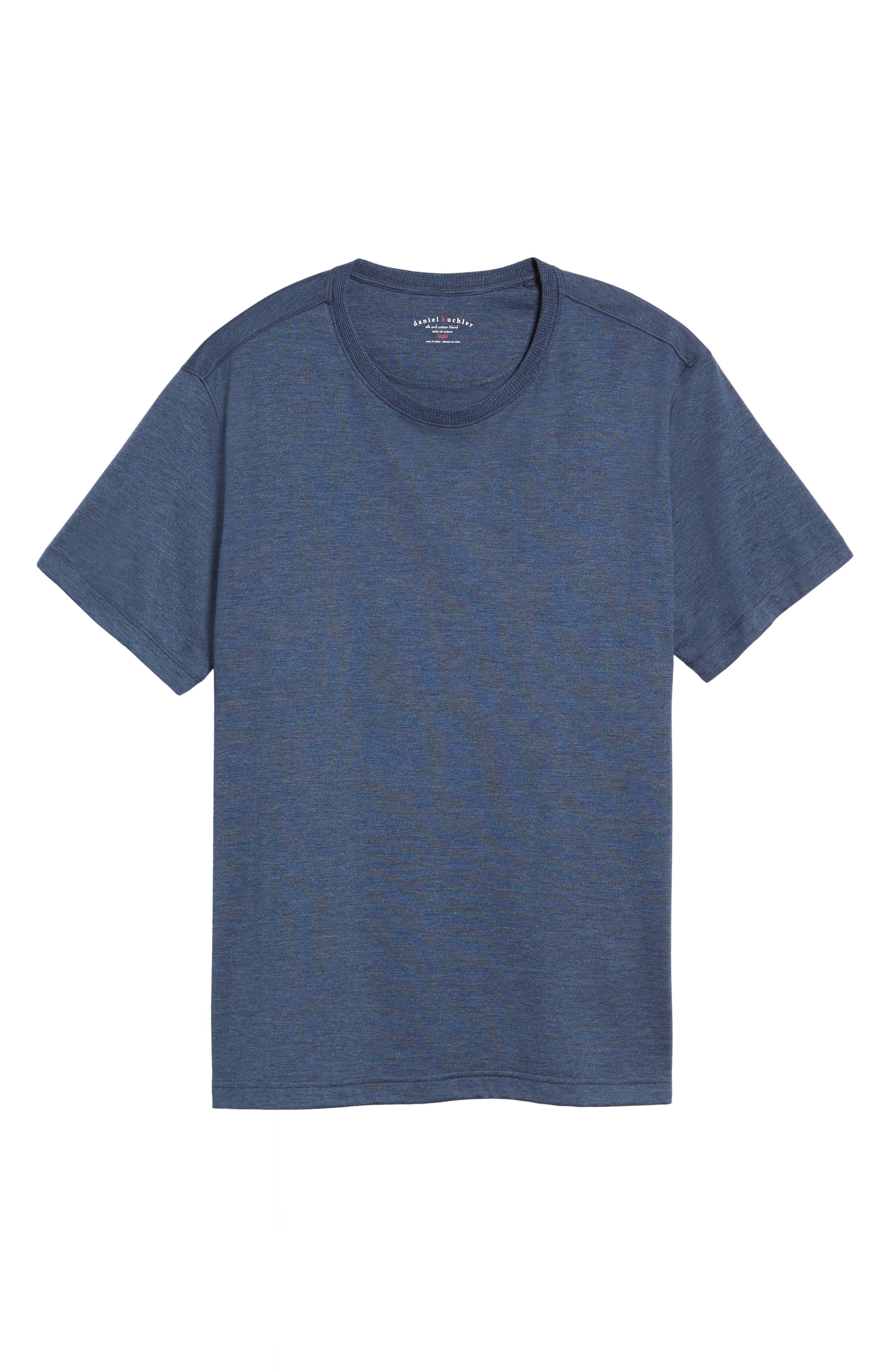 Silk & Cotton Crewneck T-Shirt,                             Alternate thumbnail 6, color,                             NAVY HEATHER