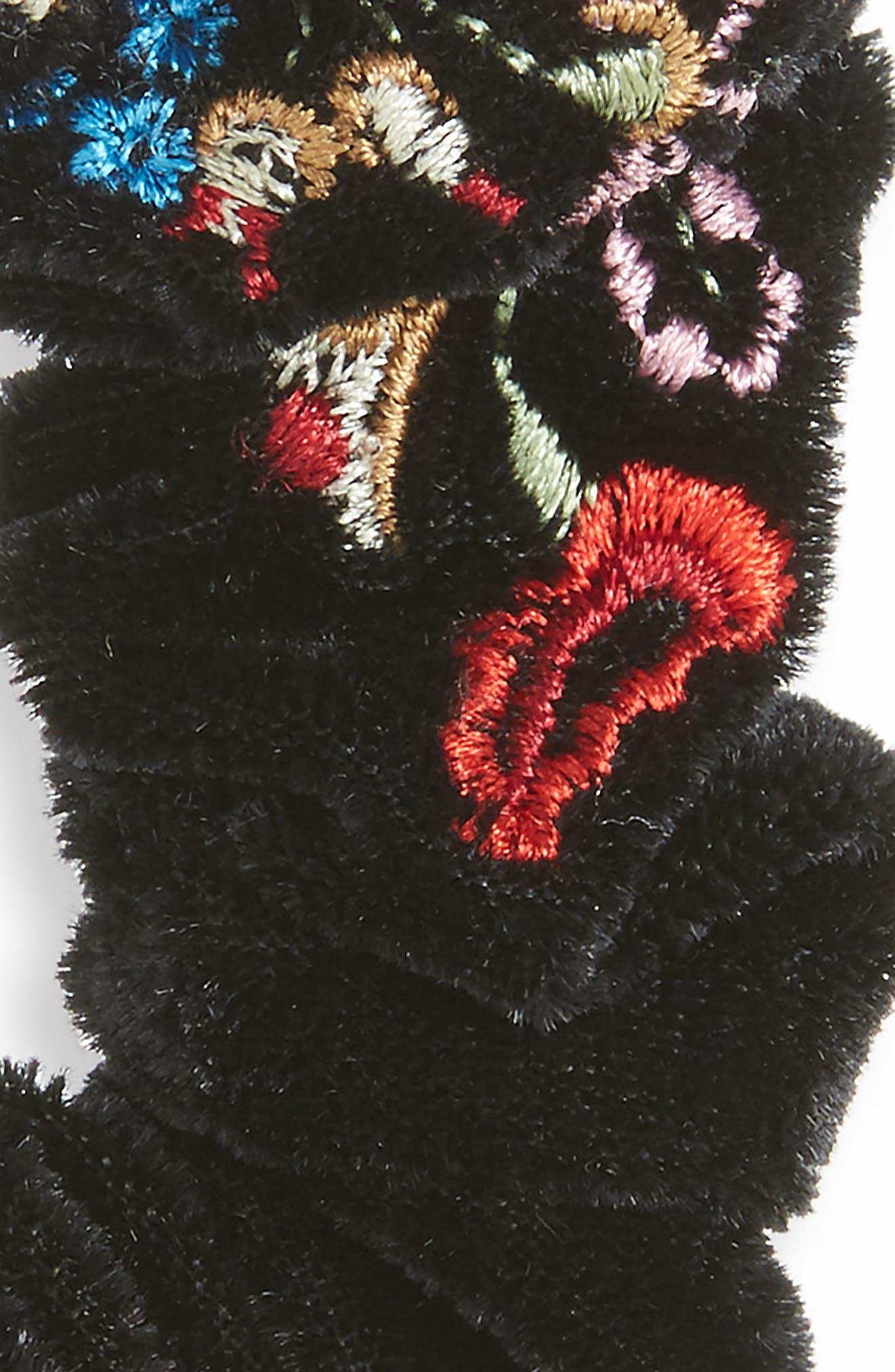 Embroidered Velvet Scrunchie,                             Alternate thumbnail 2, color,                             002