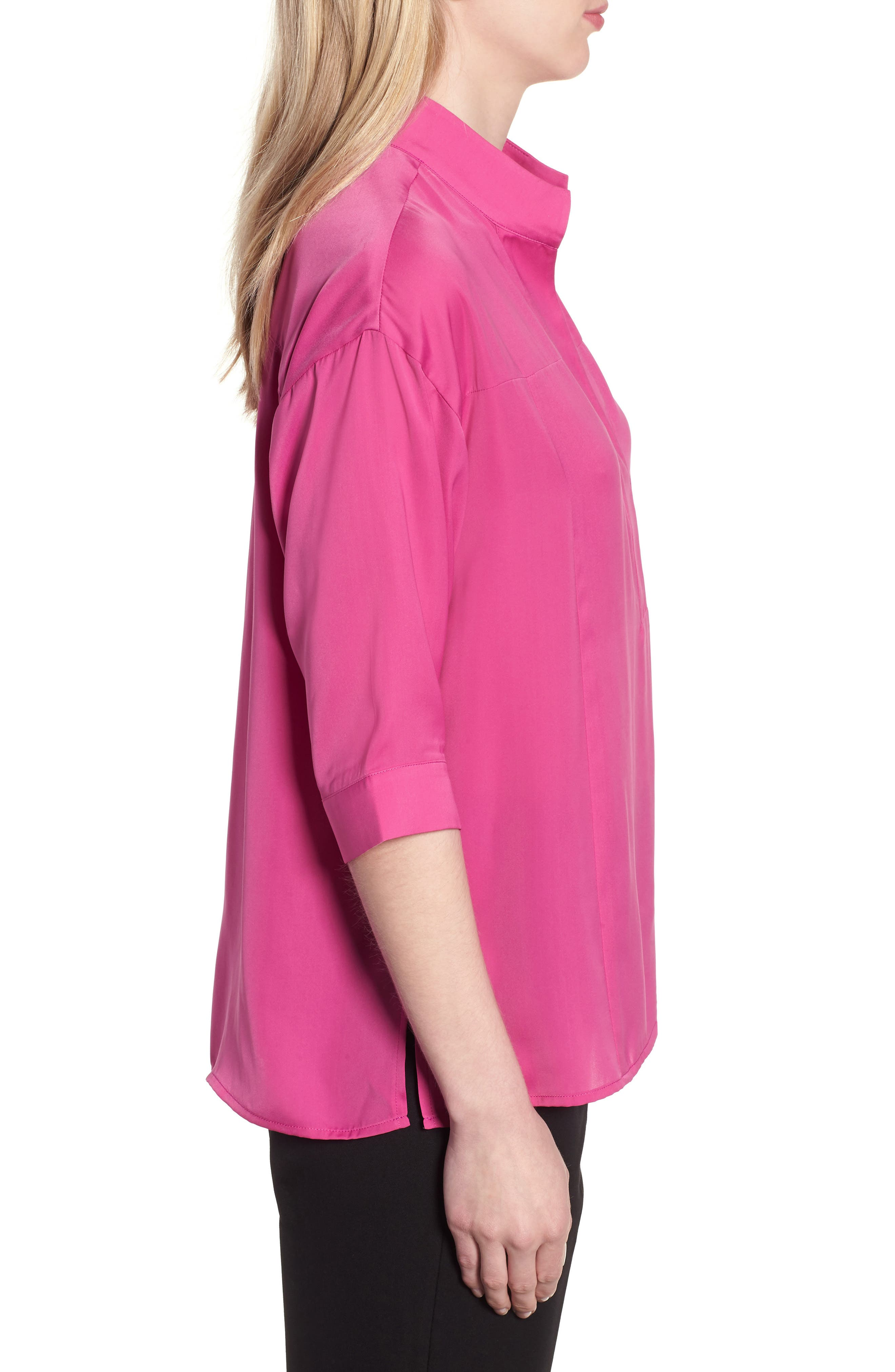 Split Neck Blouse,                             Alternate thumbnail 3, color,                             HIBISCUS