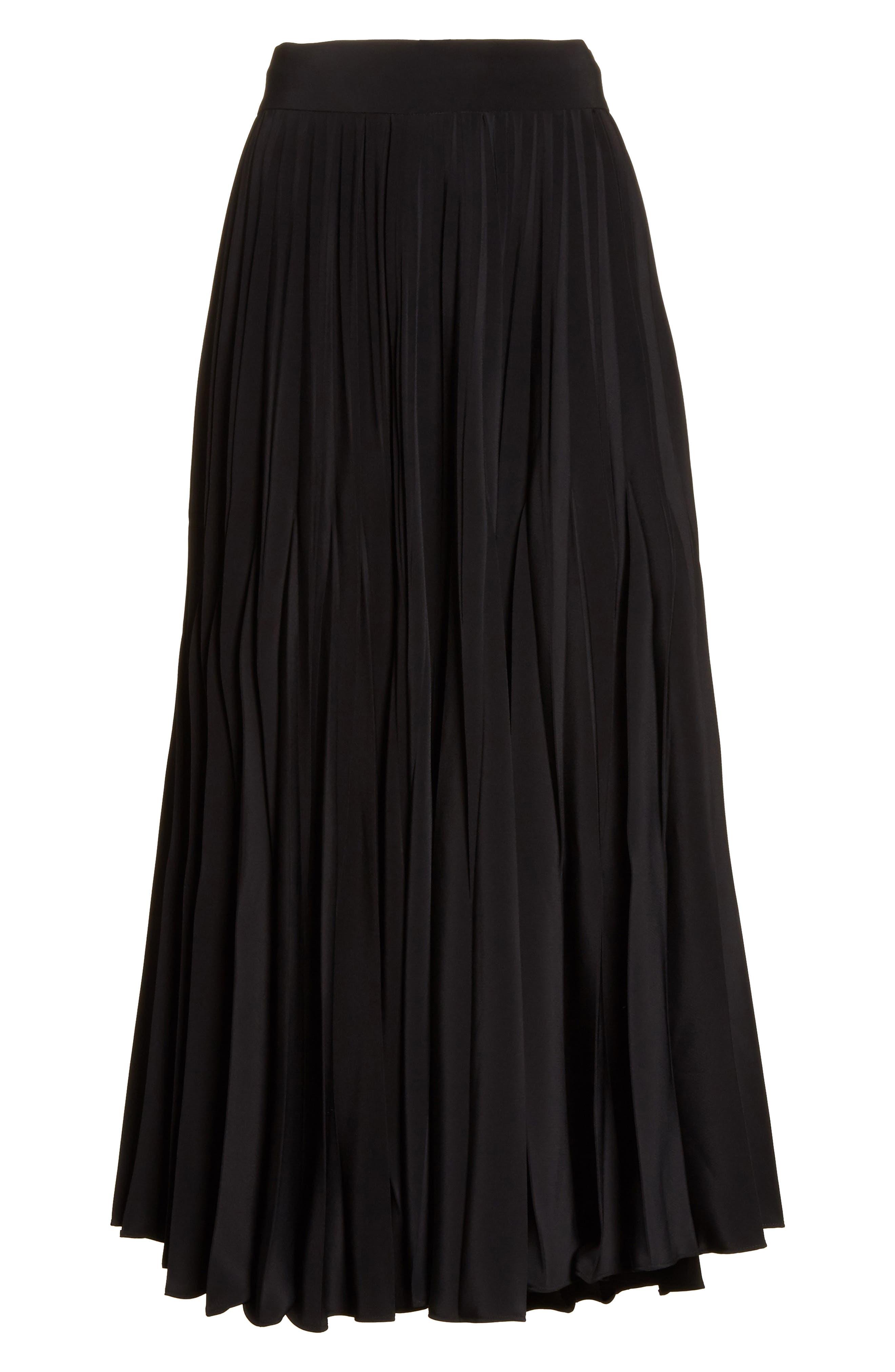 Pleated Stretch Crepe Midi Skirt,                             Alternate thumbnail 6, color,                             001