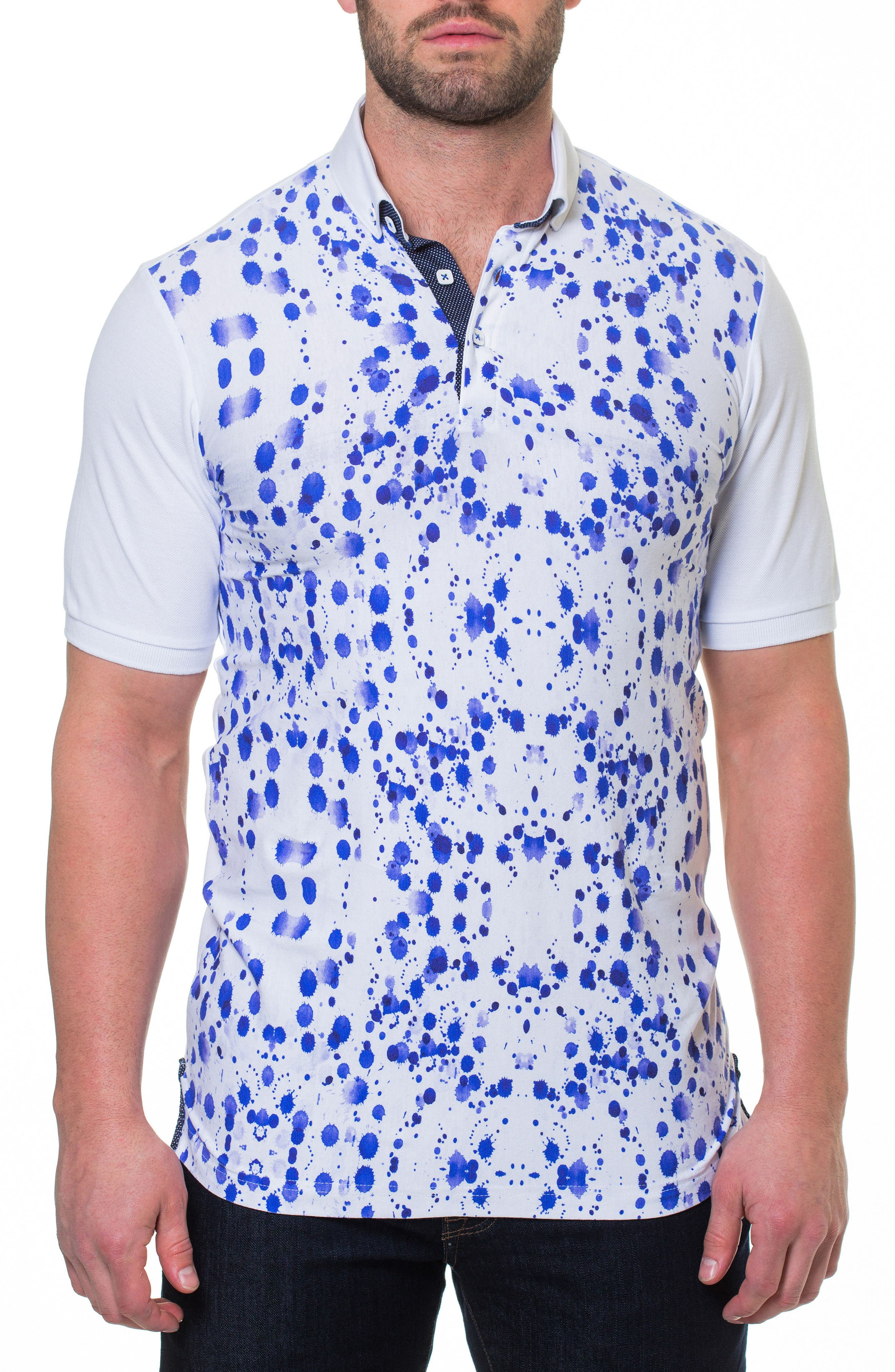 Drips Print Polo,                         Main,                         color, WHITE