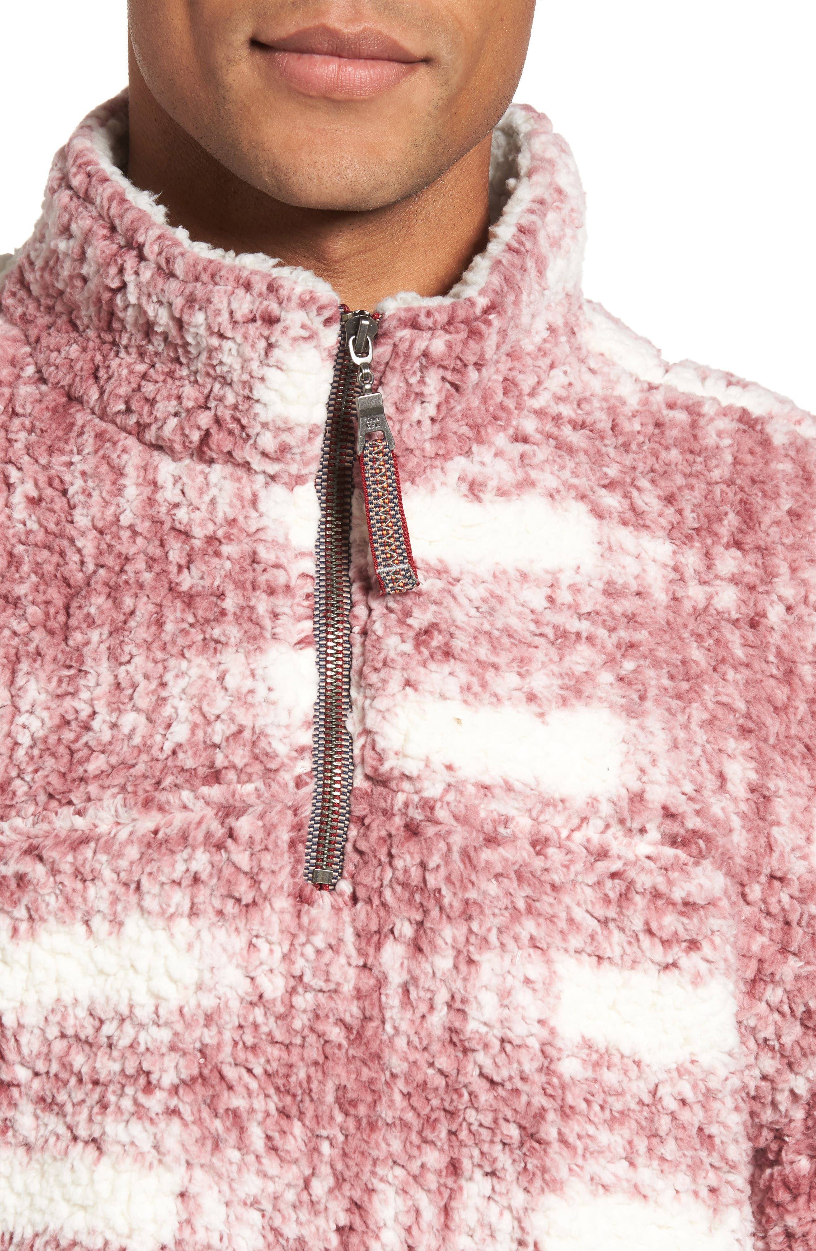 Big Plaid Frosty Tipped Faux Fur Pullover,                             Alternate thumbnail 8, color,
