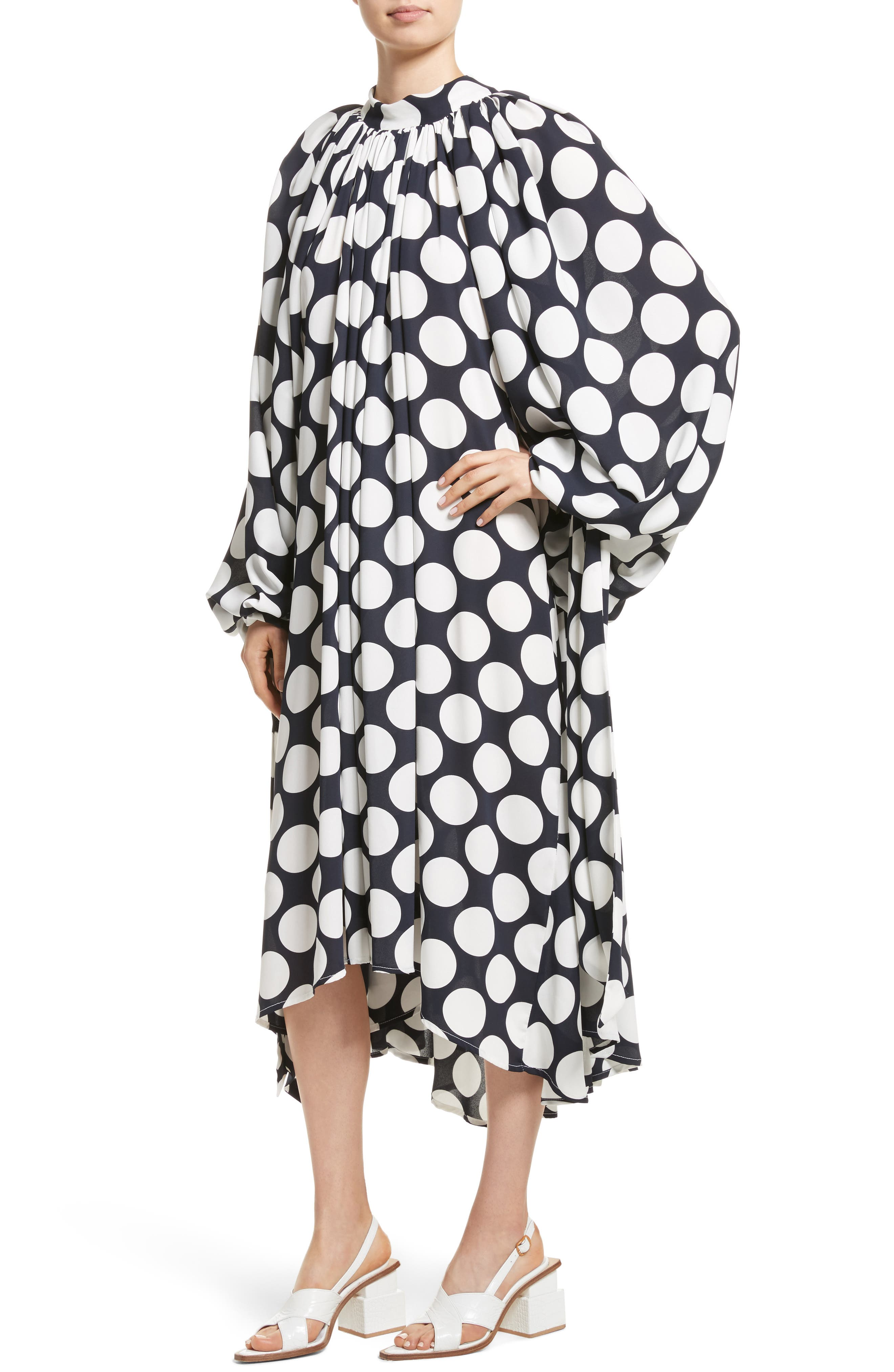Giant Polka Dot Gathered Collar Dress,                             Alternate thumbnail 4, color,                             410