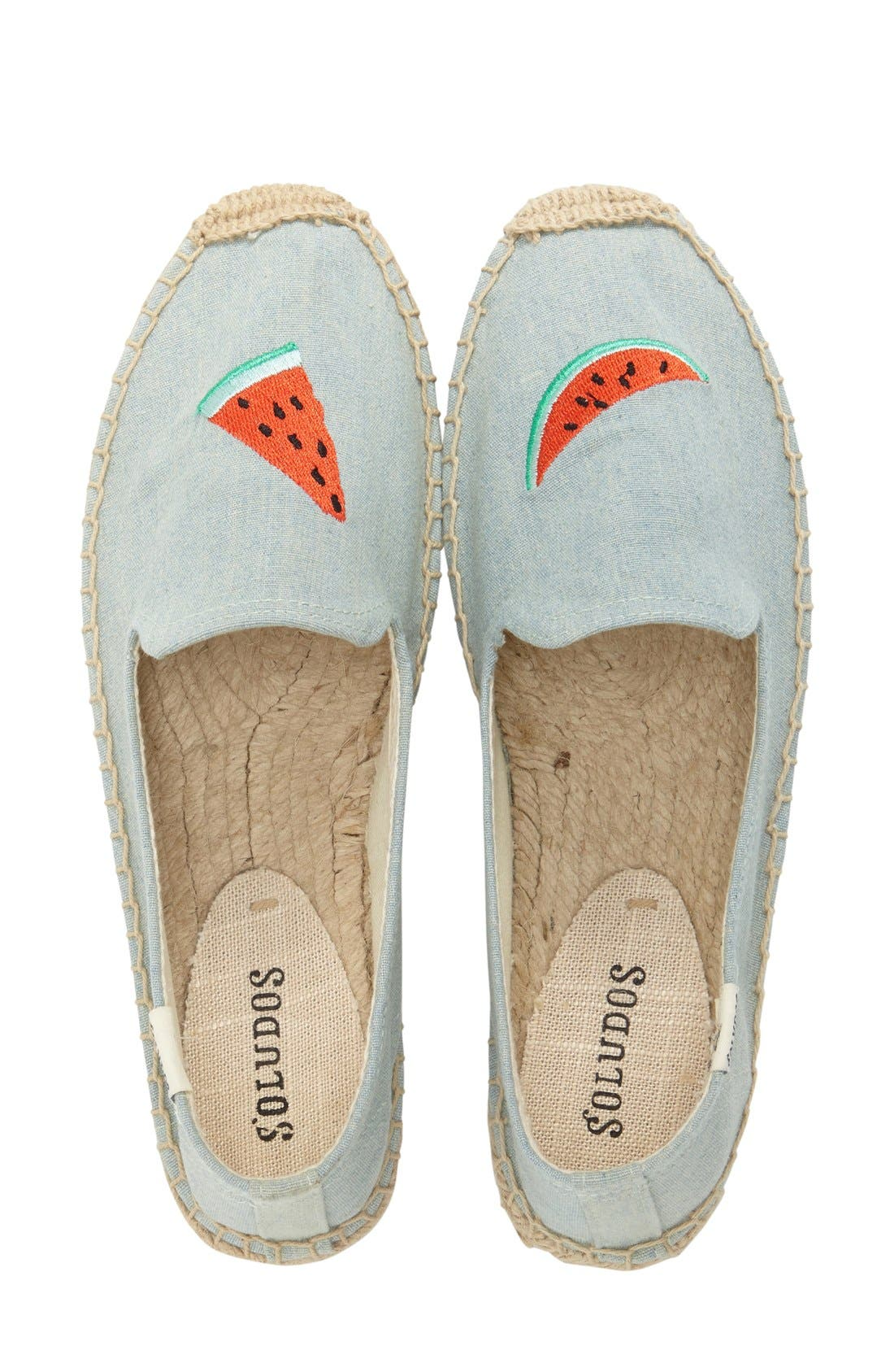 SOLUDOS,                             'Watermelon' Embroidered Flat,                             Alternate thumbnail 4, color,                             420