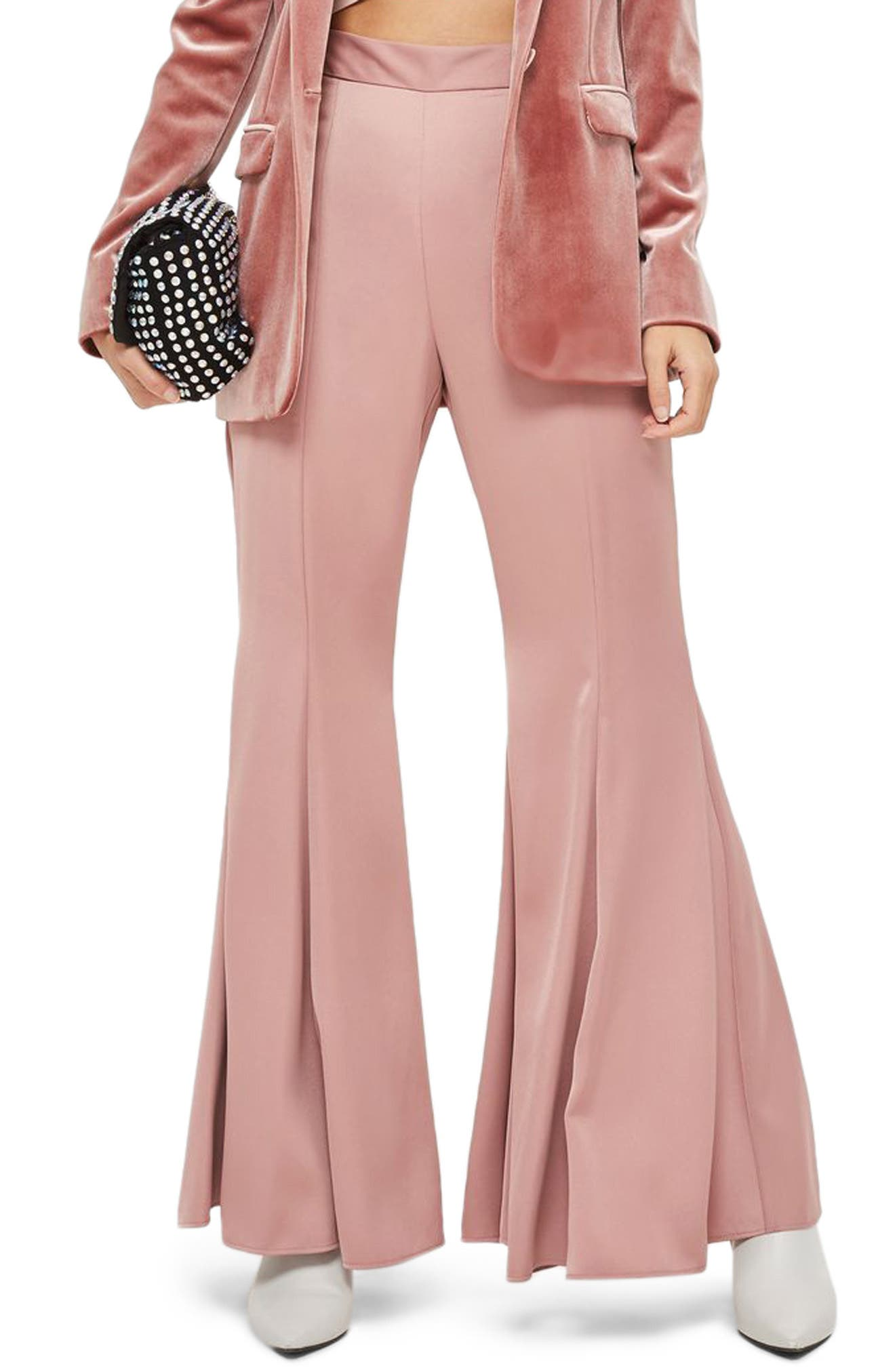 Satin Super Flare Trousers,                             Main thumbnail 1, color,