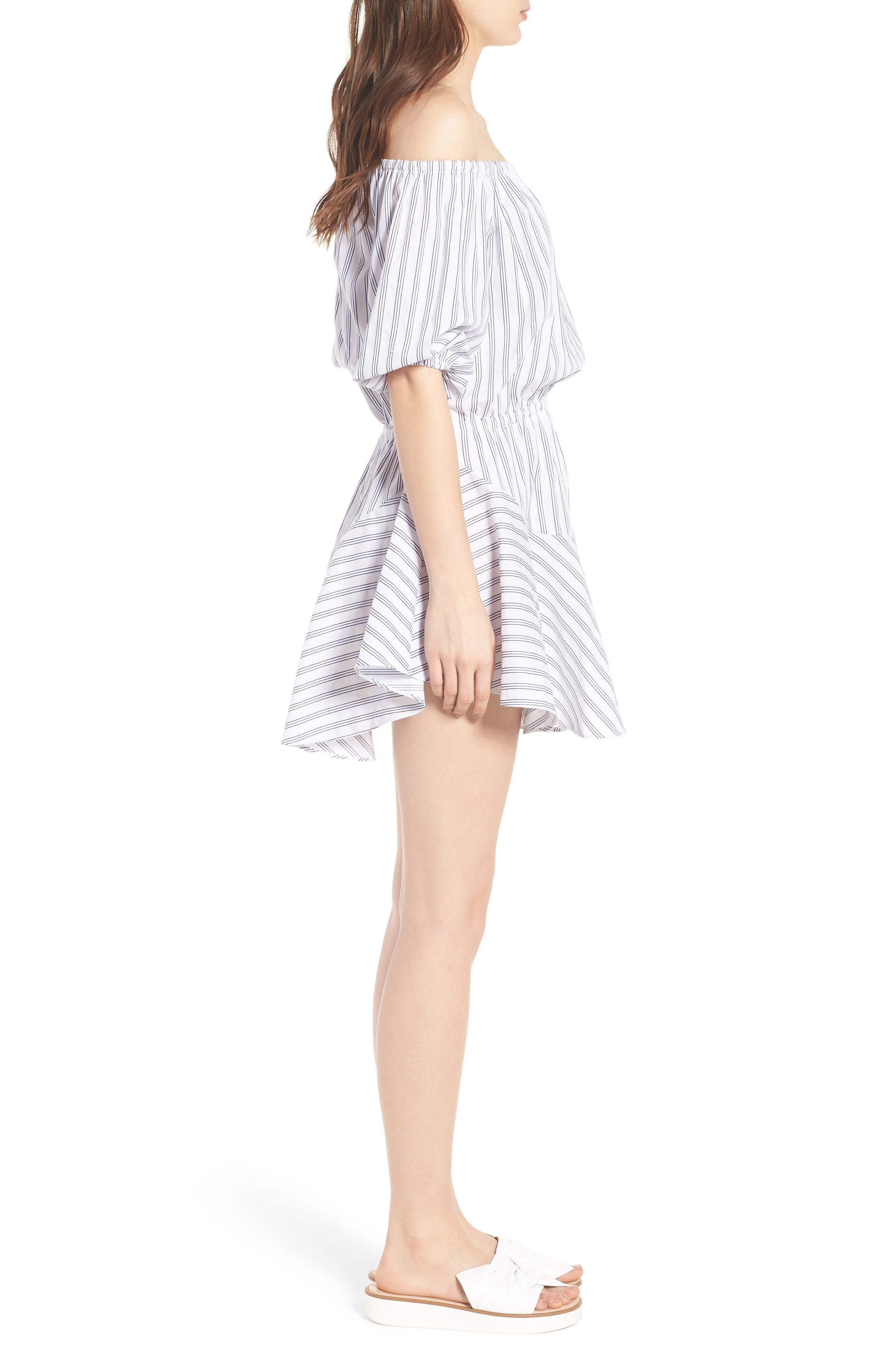 Barbados Stripe Off the Shoulder Dress,                             Alternate thumbnail 3, color,                             400