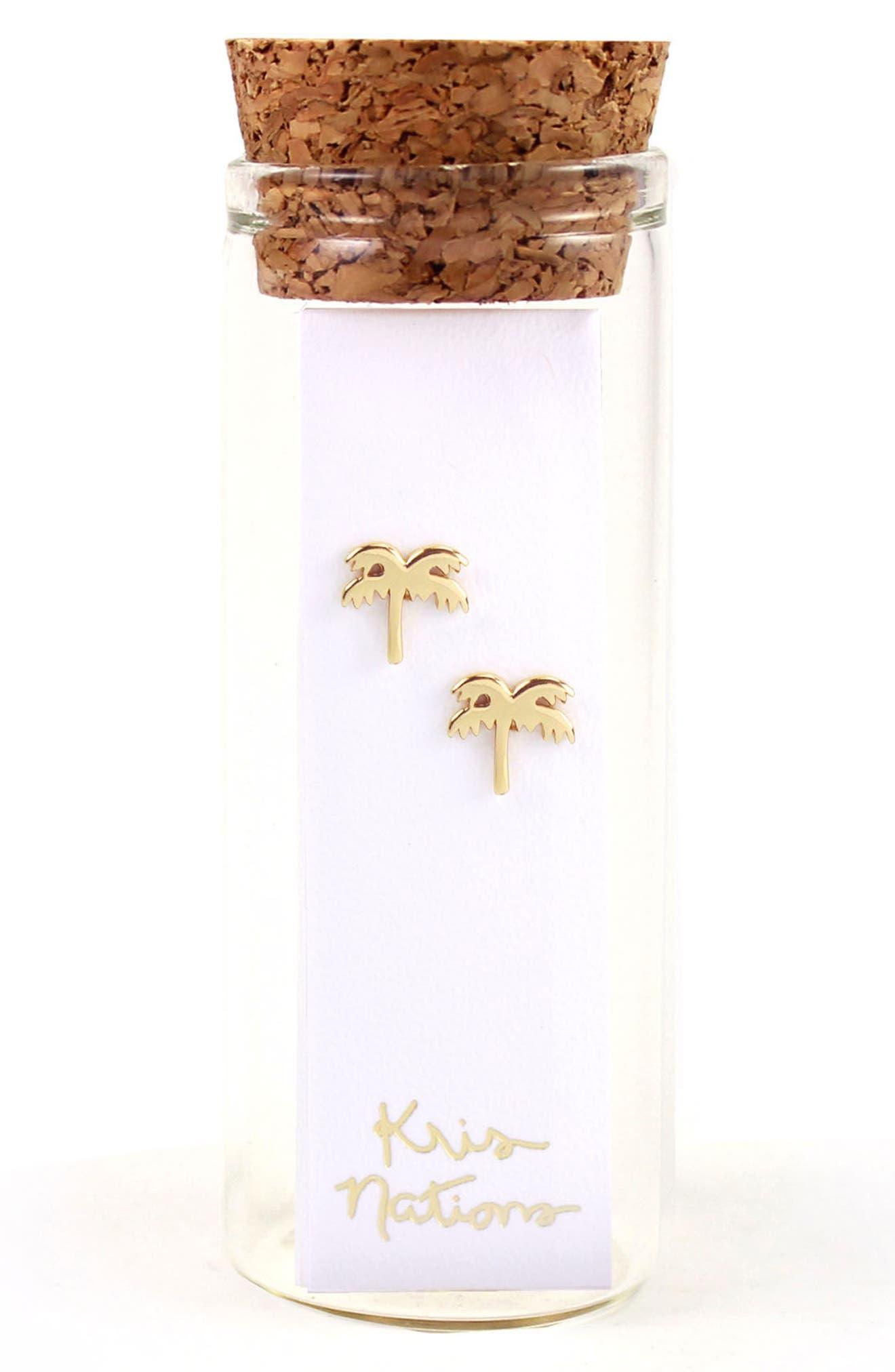 Palm Tree Stud Earrings,                             Alternate thumbnail 2, color,                             SILVER