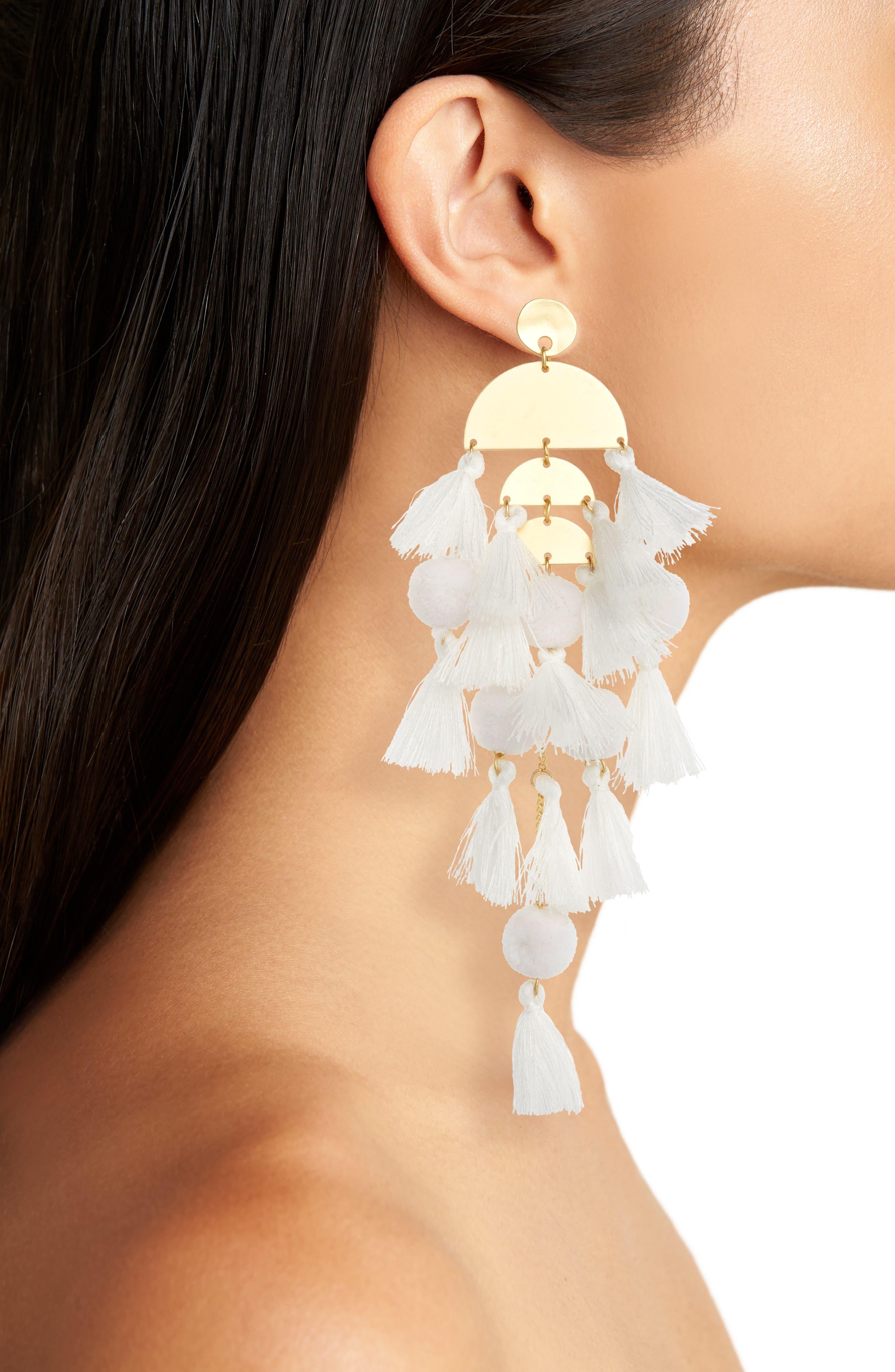 STELLA + RUBY,                             Calypso Tassel Earrings,                             Alternate thumbnail 2, color,                             GOLD/ WHITE