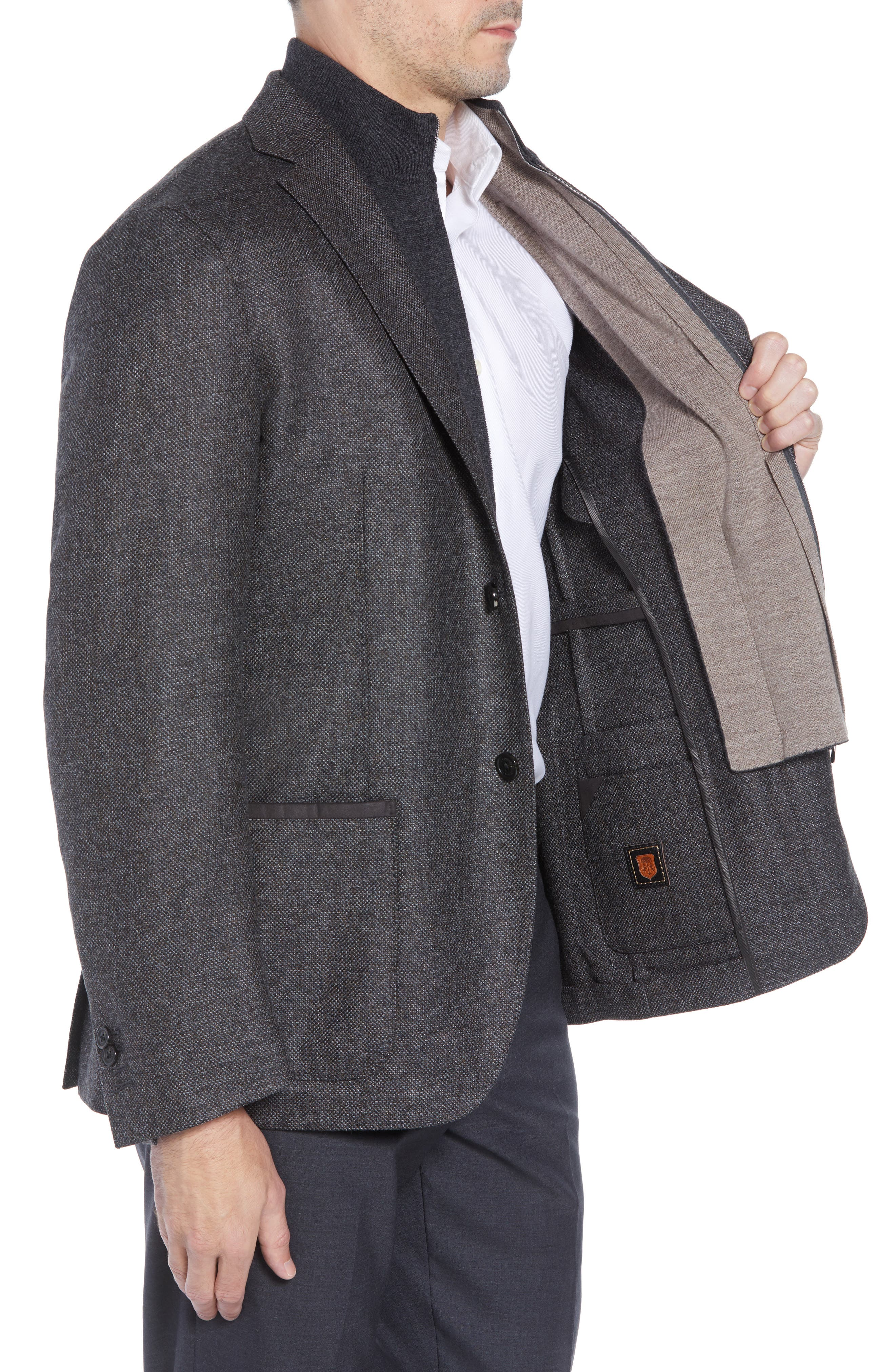 Classic Fit Stretch Tweed Wool Blend Sport Coat,                             Alternate thumbnail 3, color,                             GREY