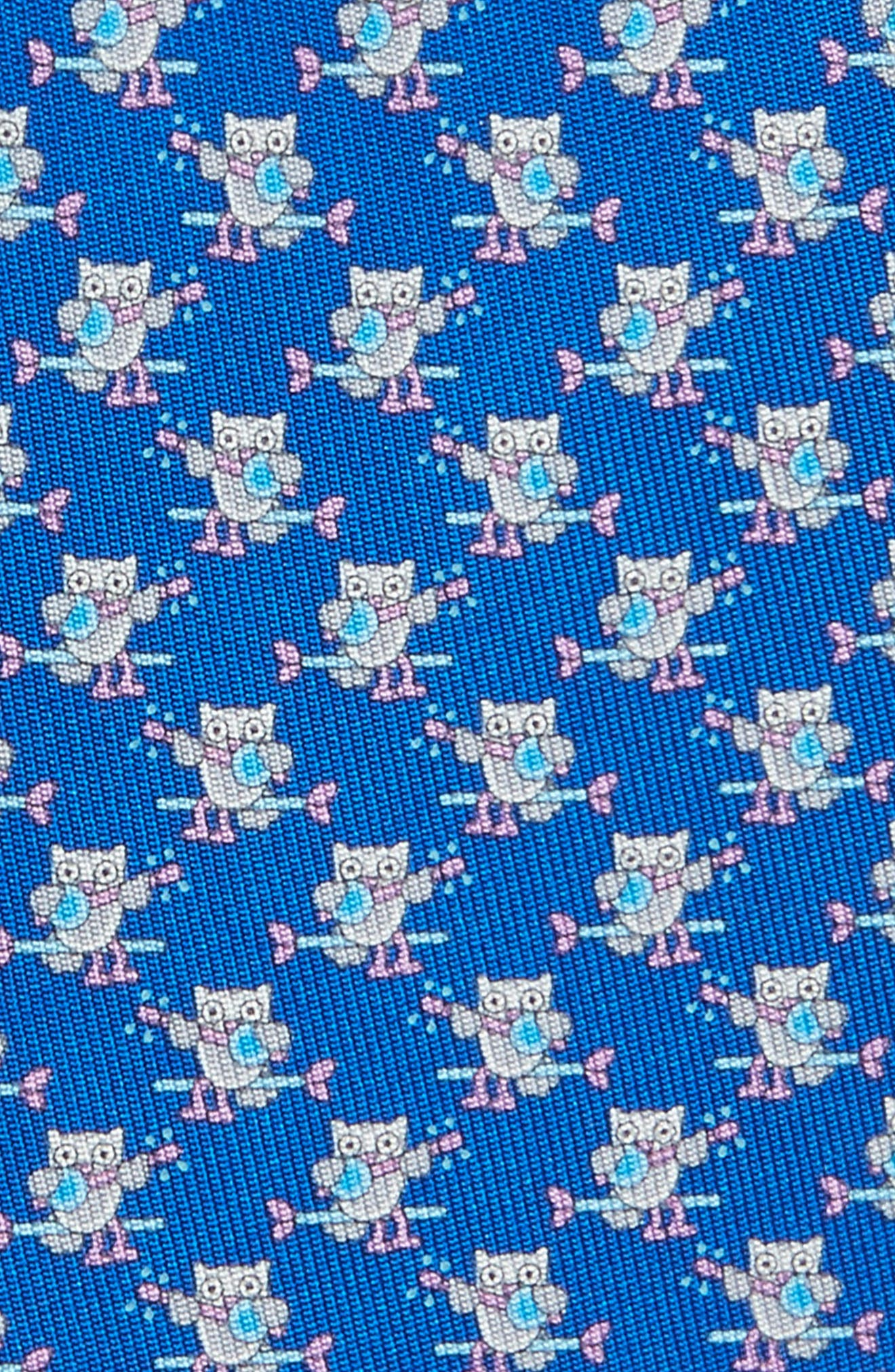 Owl Print Silk Tie,                             Alternate thumbnail 2, color,                             494