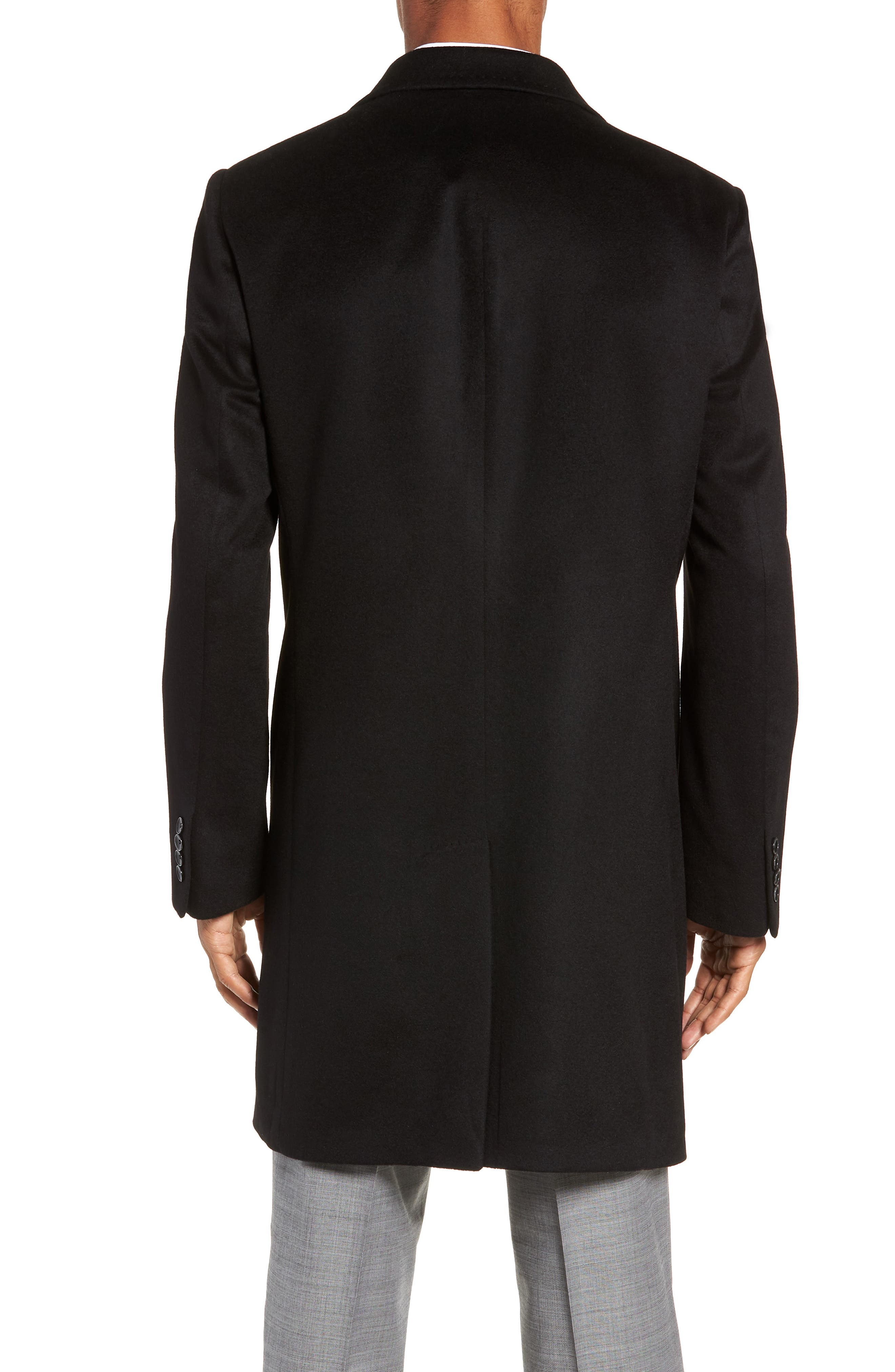 Darien Solid Cashmere Overcoat,                             Alternate thumbnail 2, color,                             BLACK