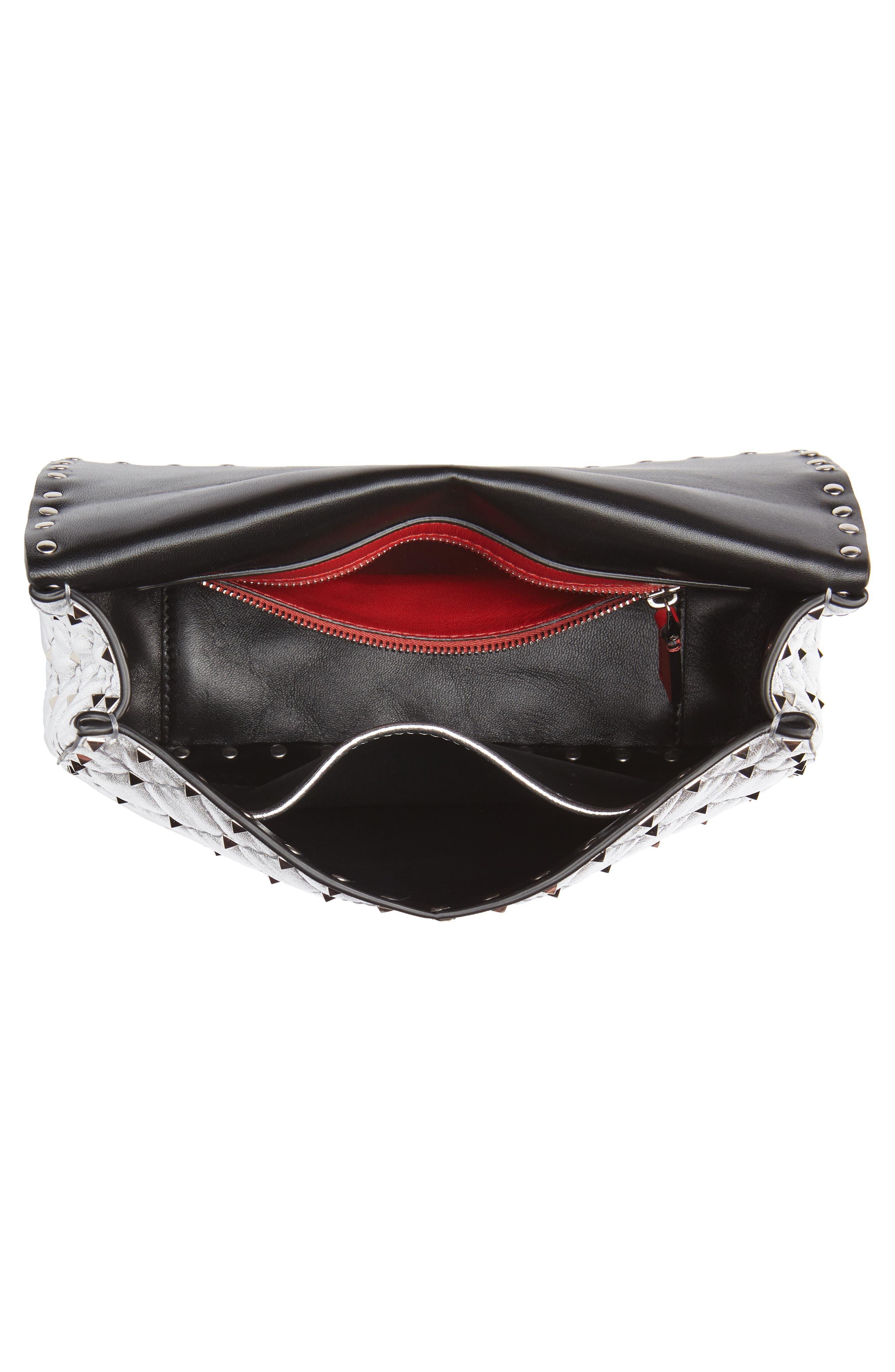 Medium Rockstud Spike Metallic Leather Shoulder Bag,                             Alternate thumbnail 4, color,                             SILVER