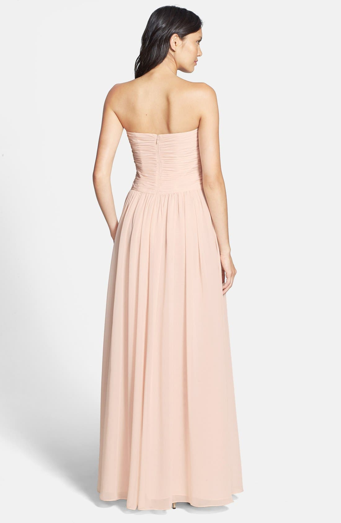 Strapless Ruched Chiffon Gown,                             Alternate thumbnail 19, color,