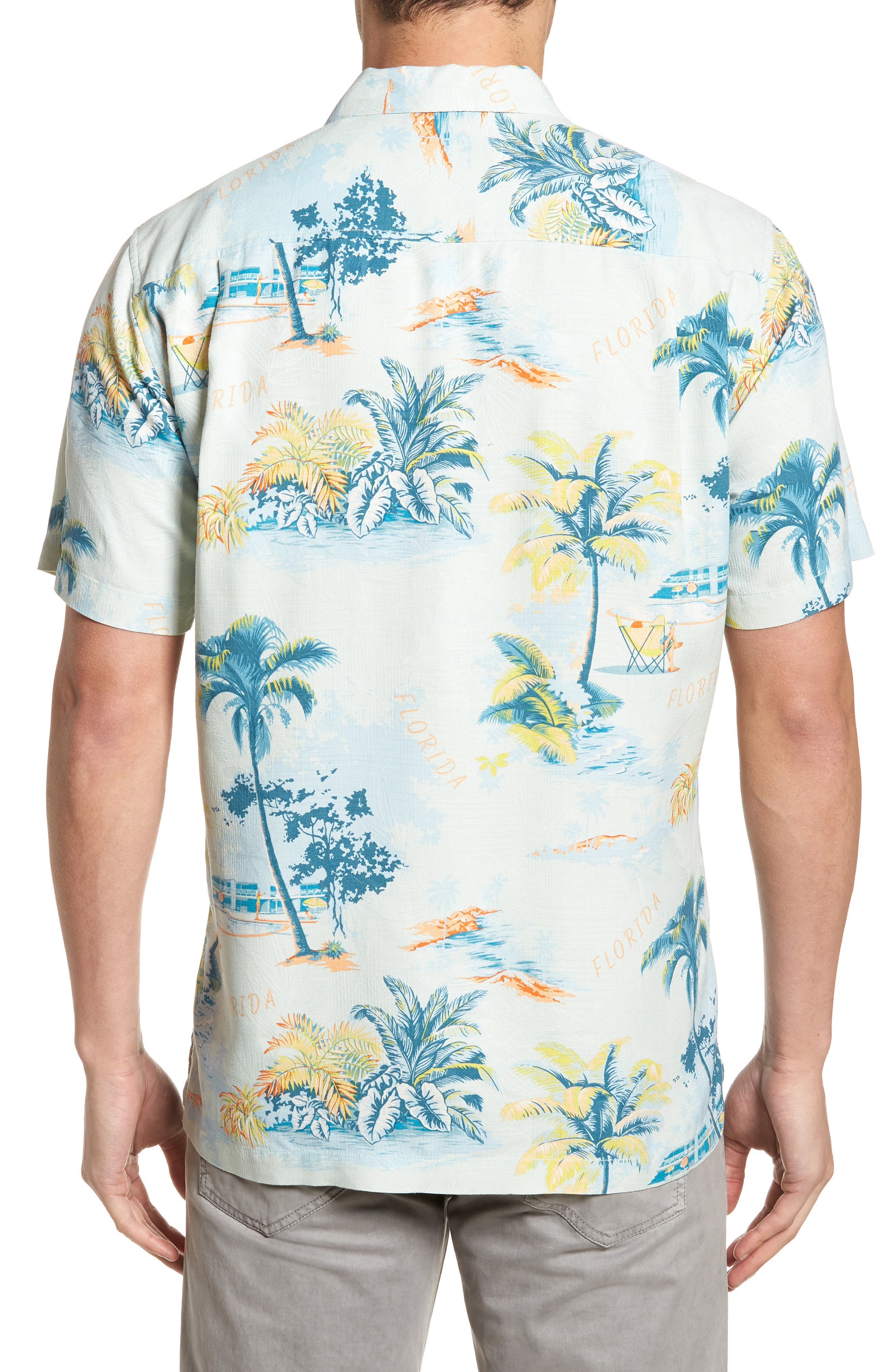 Florida Palms Regular Fit Silk Camp Shirt,                             Alternate thumbnail 2, color,                             400