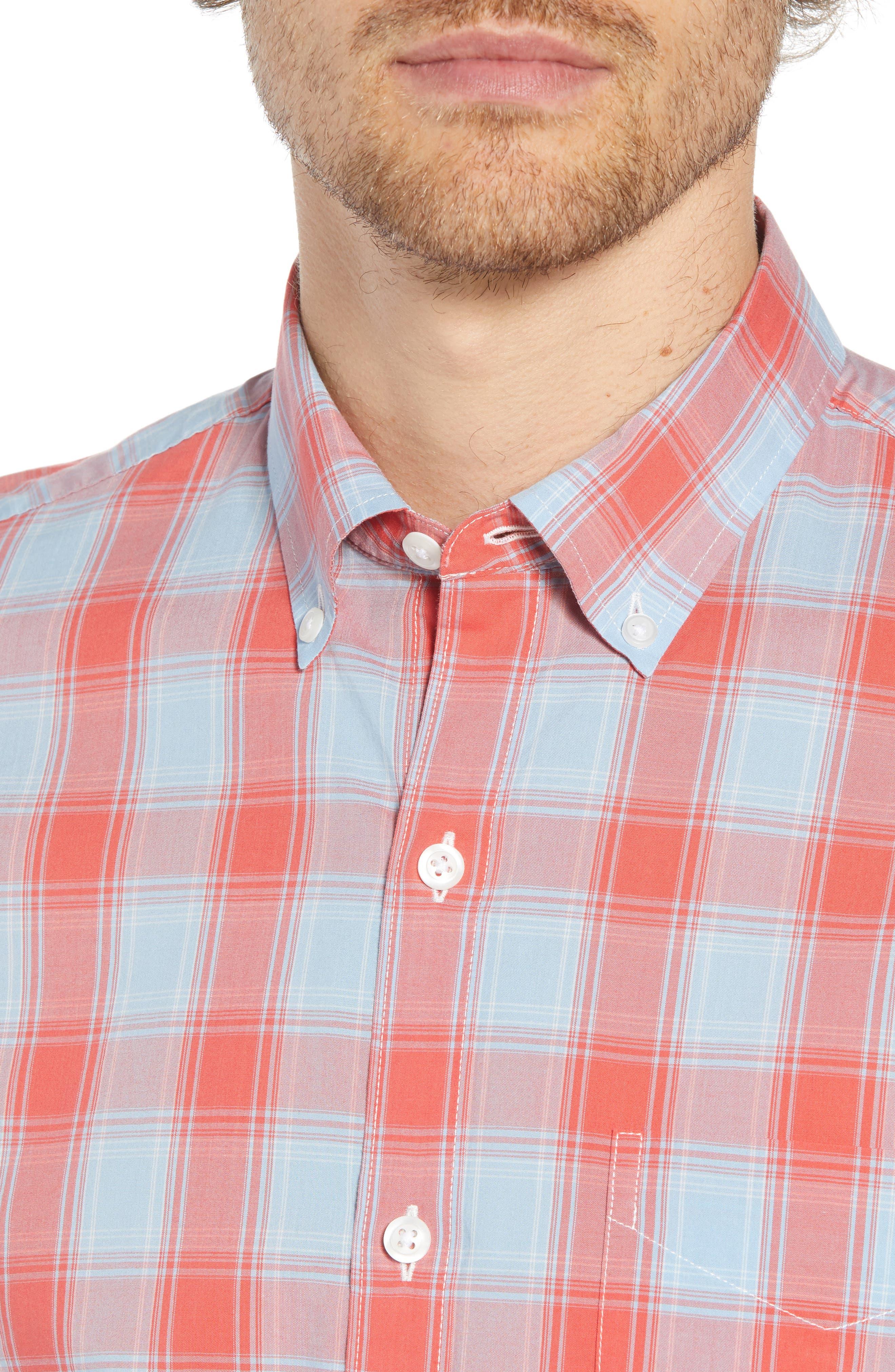 Summerweight Slim Fit Plaid Sport Shirt,                             Alternate thumbnail 2, color,                             FOX LAIR - CORAL FAN