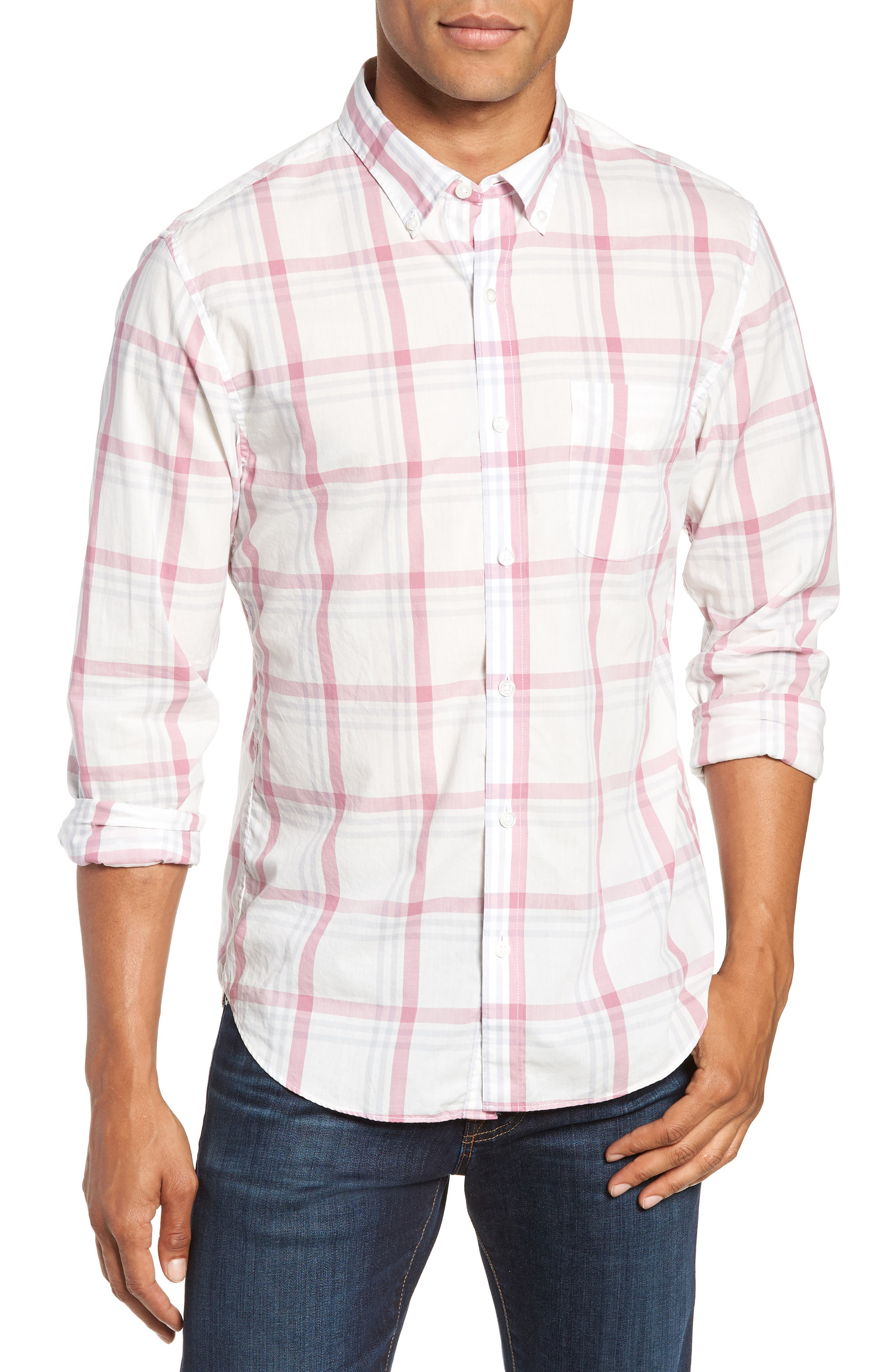 BONOBOS Summerweight Slim Fit Plaid Sport Shirt, Main, color, 100