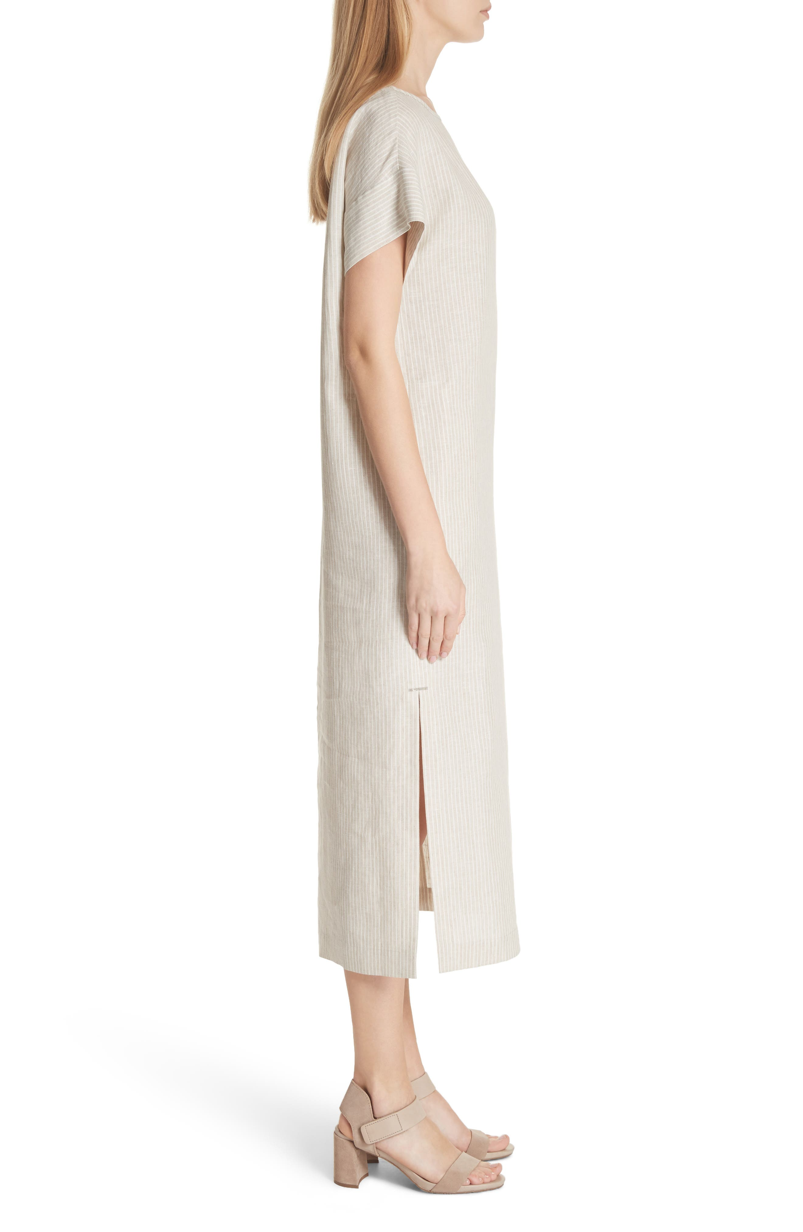 LAFAYETTE 148 NEW YORK,                             Emiline Stripe Linen Dress,                             Alternate thumbnail 3, color,                             251